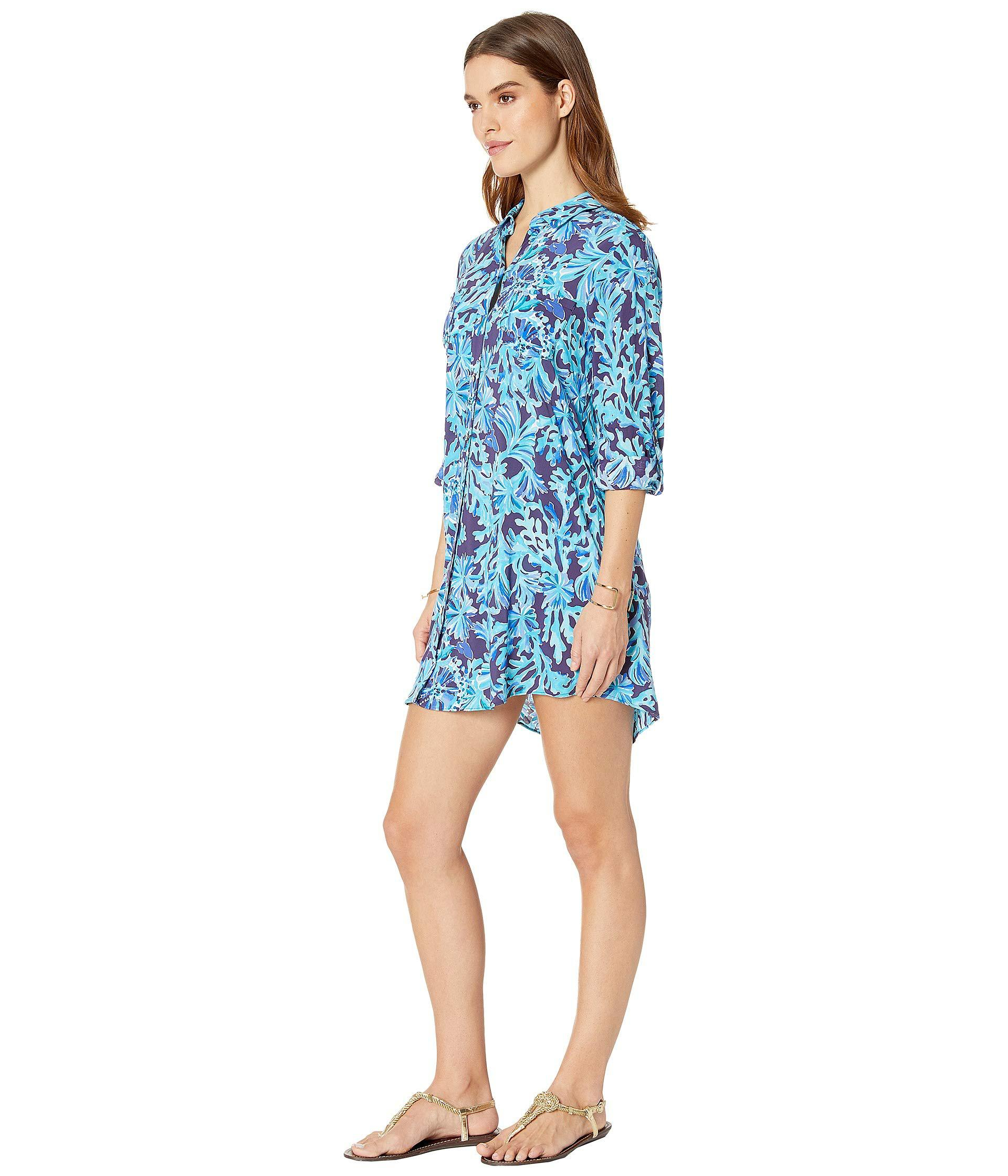 be95aa5f6e505 Lyst - Lilly Pulitzer Natalie Cover-up (multi Postcards From Positano)  Women s Swimwear in Blue