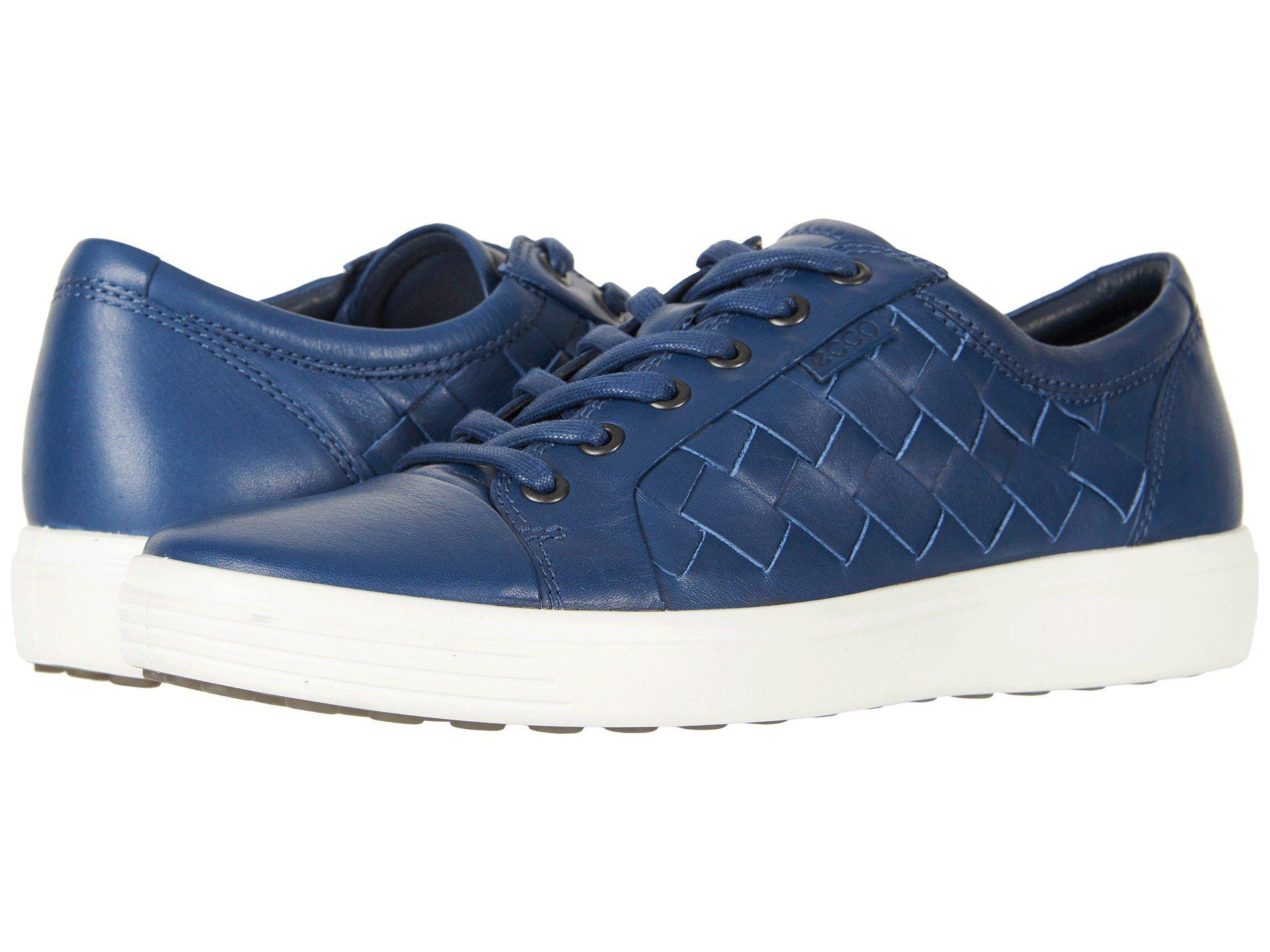 86b48c082fdd0 Ecco Soft 7 Woven Tie (true Navy) Men's Lace Up Casual Shoes in Blue ...