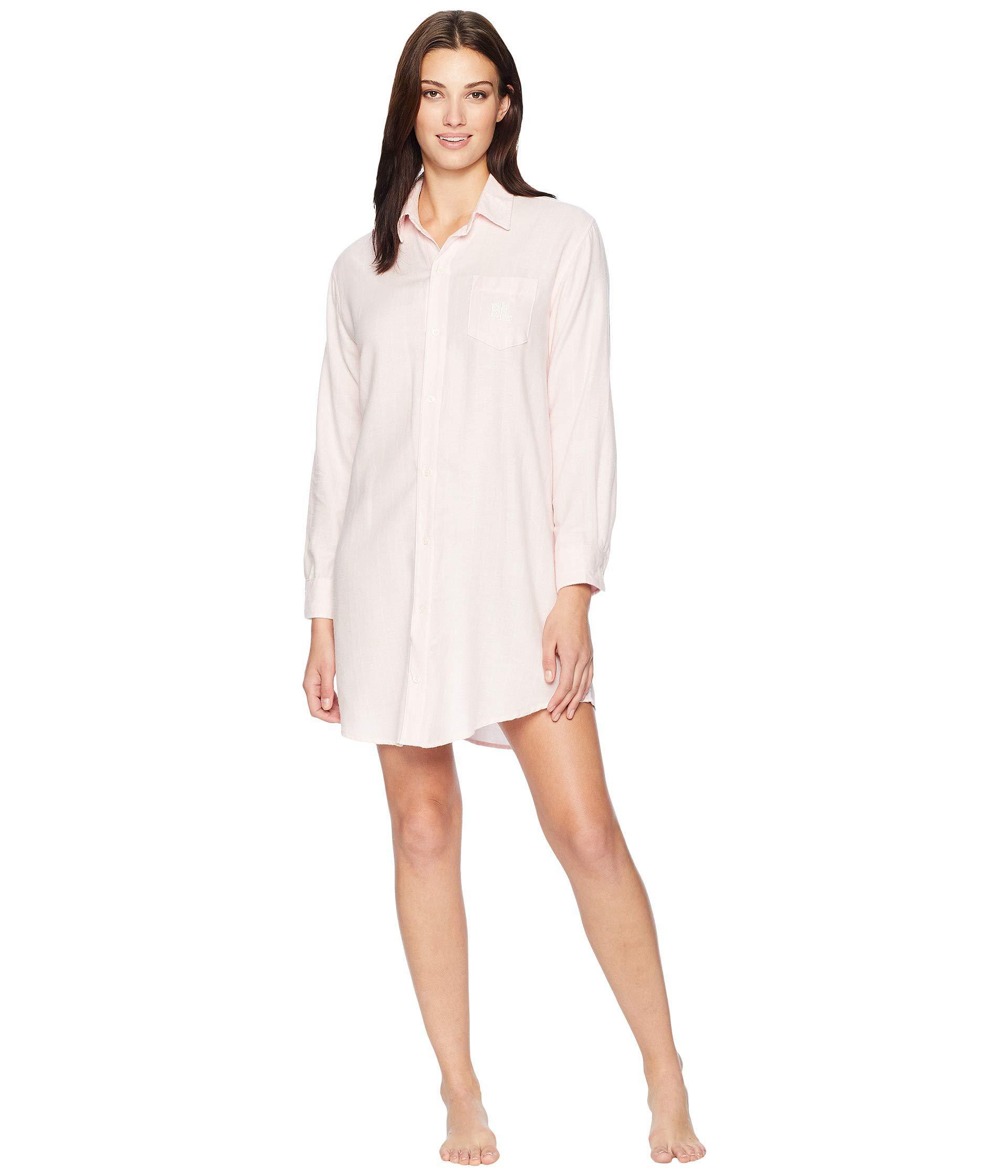 Lauren by Ralph Lauren. Woven His Shirt Sleepshirt (pink Stripe) Women s  Pajama 105431808