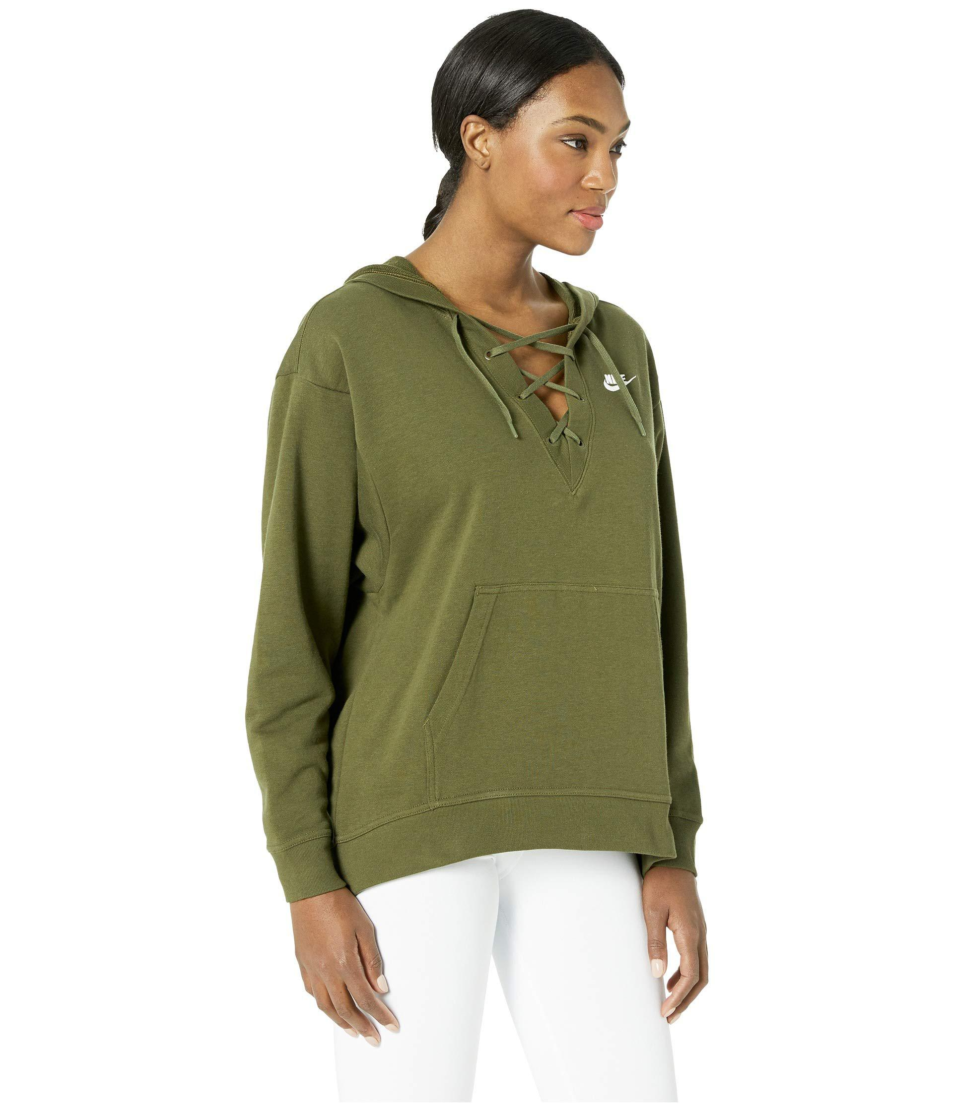 Nike - Green Club Lace-up Hoodie (olive Canvas olive Canvas white. View  fullscreen ca37e40eb