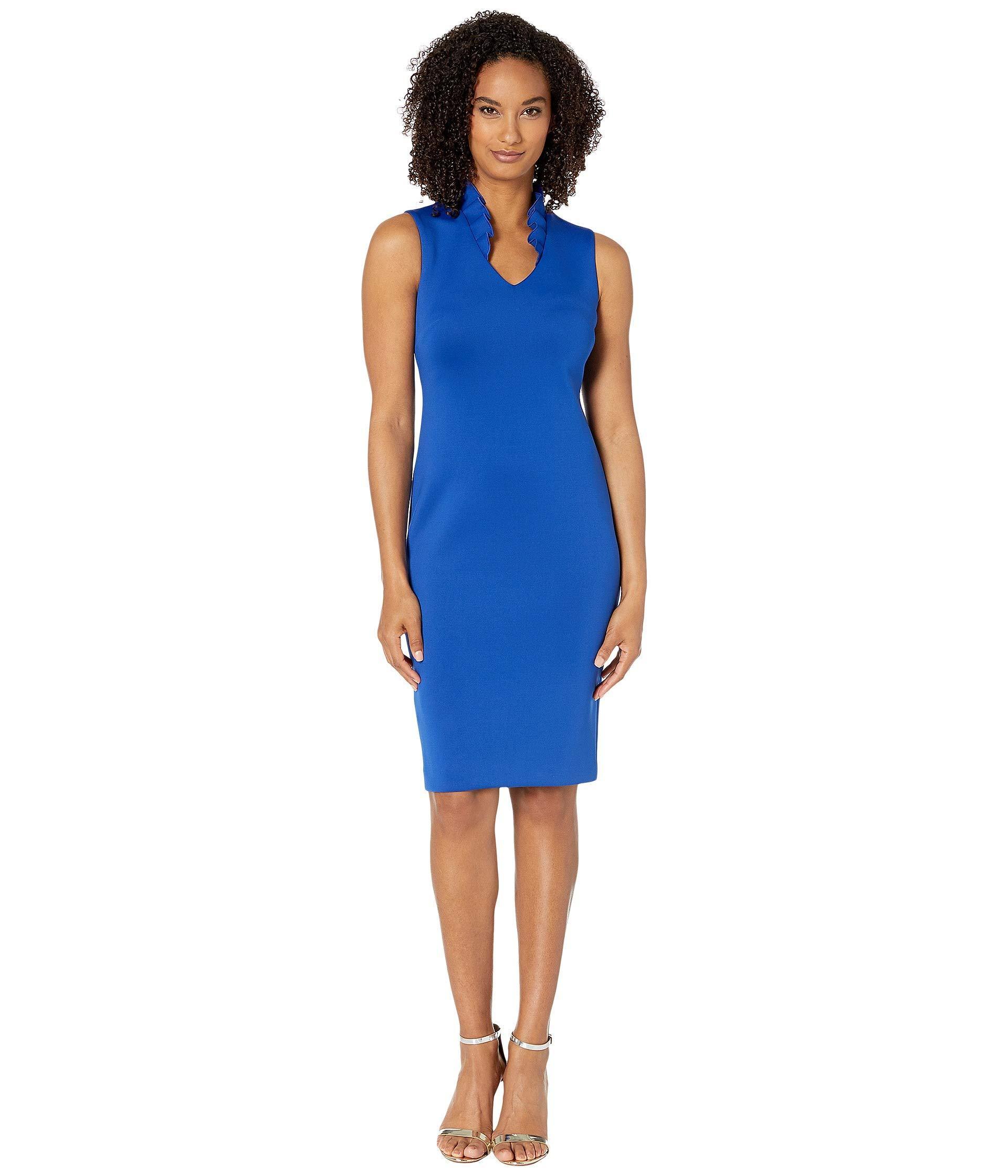 8475f251 Lyst - Calvin Klein Ruffle Neck Sheath Dress (black) Women's Dress ...