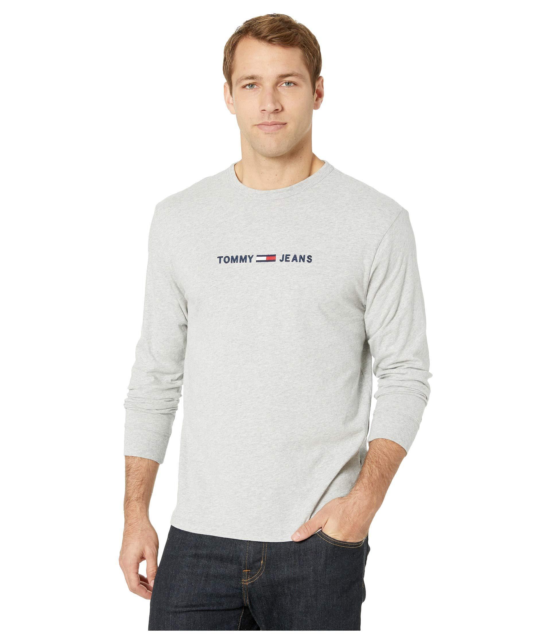 b1864c2e Tommy Hilfiger. Gray Small Text Long Sleeve (light Grey Heather) Men's  Clothing
