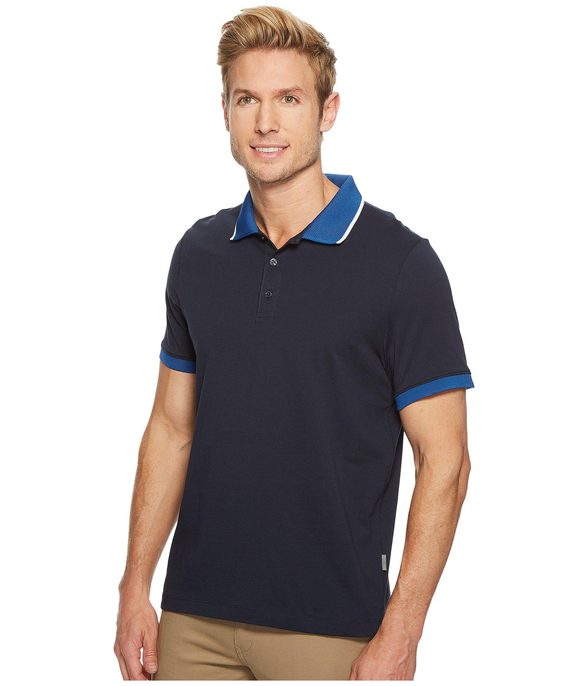 be97faf241 Lyst - Perry Ellis Tipped Collar Pima Cotton Polo (dark Sapphire) Men s  Clothing in Blue for Men