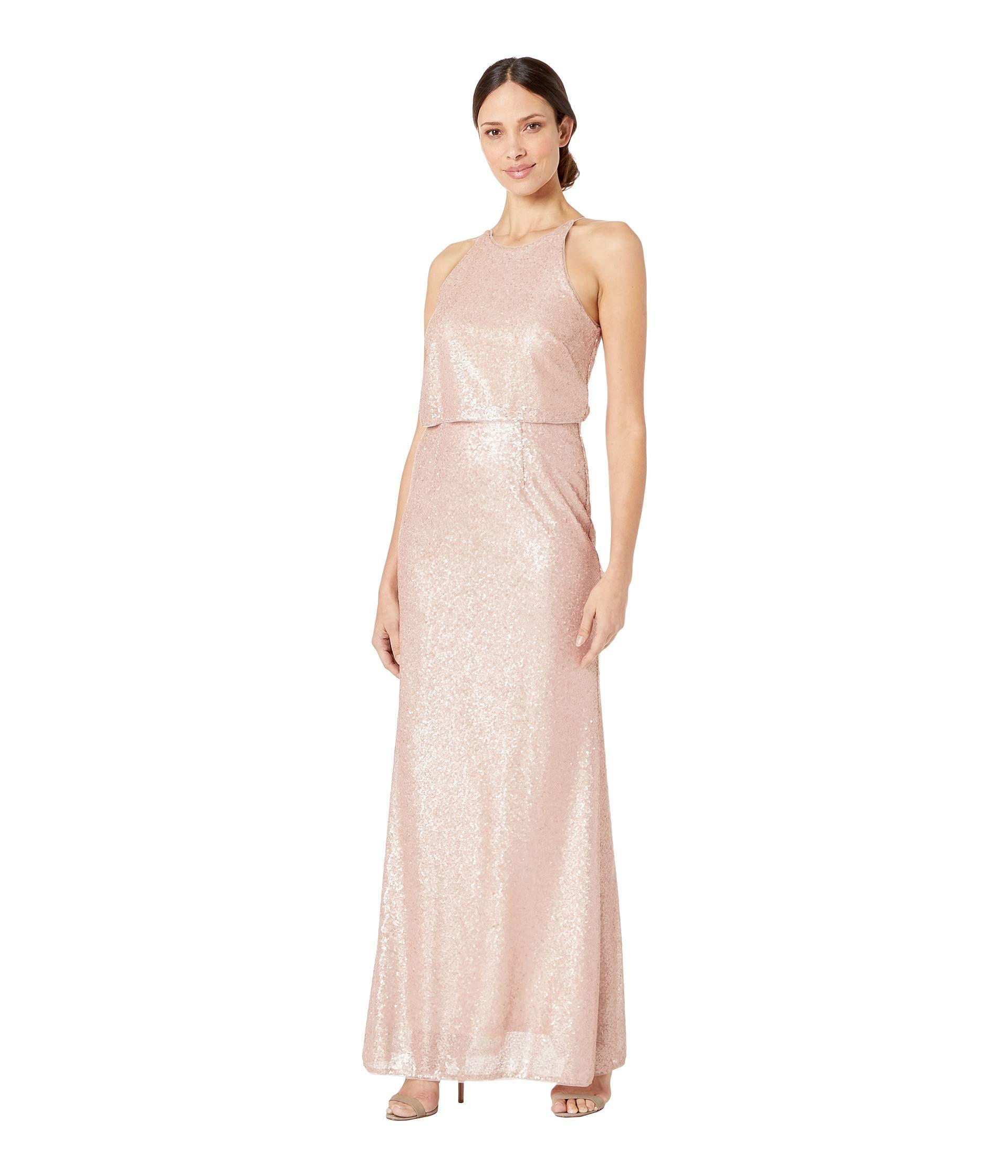 b798359b671 Adrianna Papell. Pink Sequin Halter Popover Modified Mermaid Evening Gown  ...
