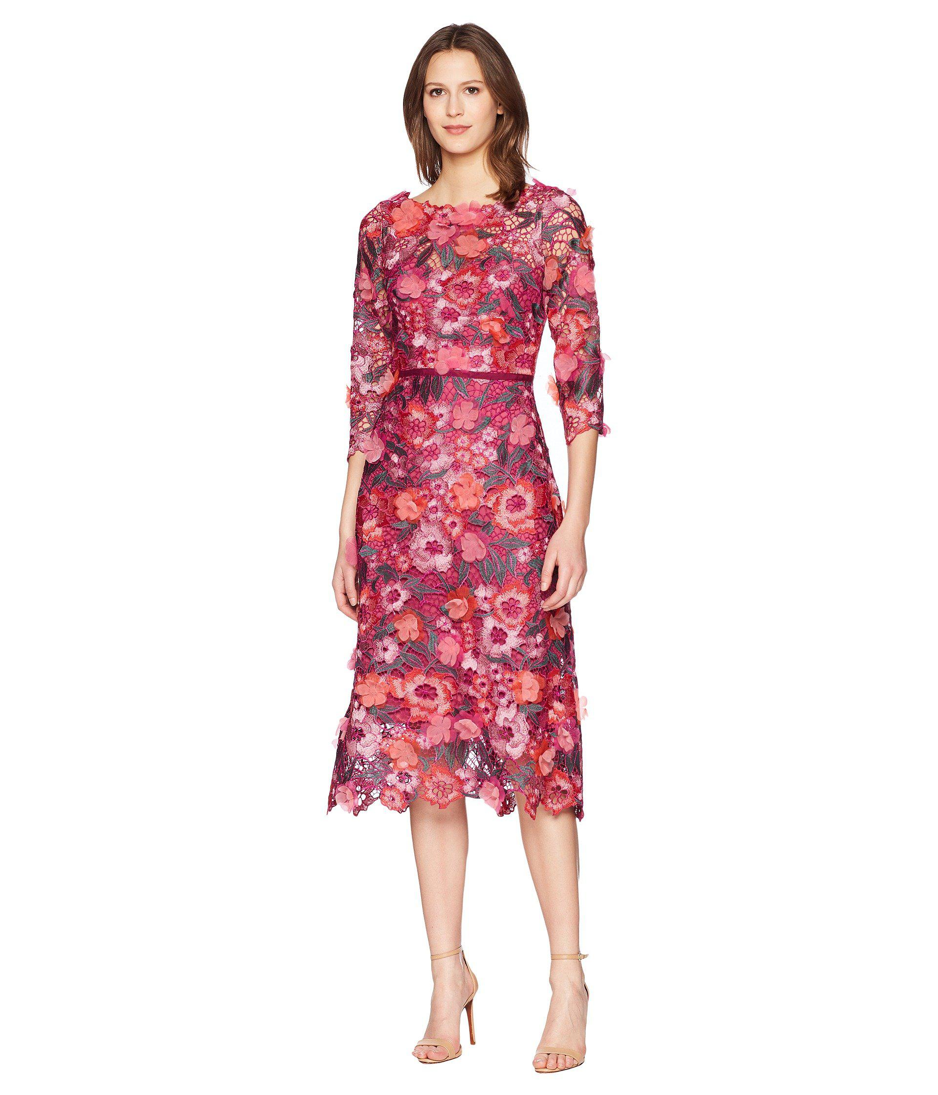 c4912354 Marchesa notte 3/4 Length Sleeve 3d Floral Guipure Lace Tea Length ...