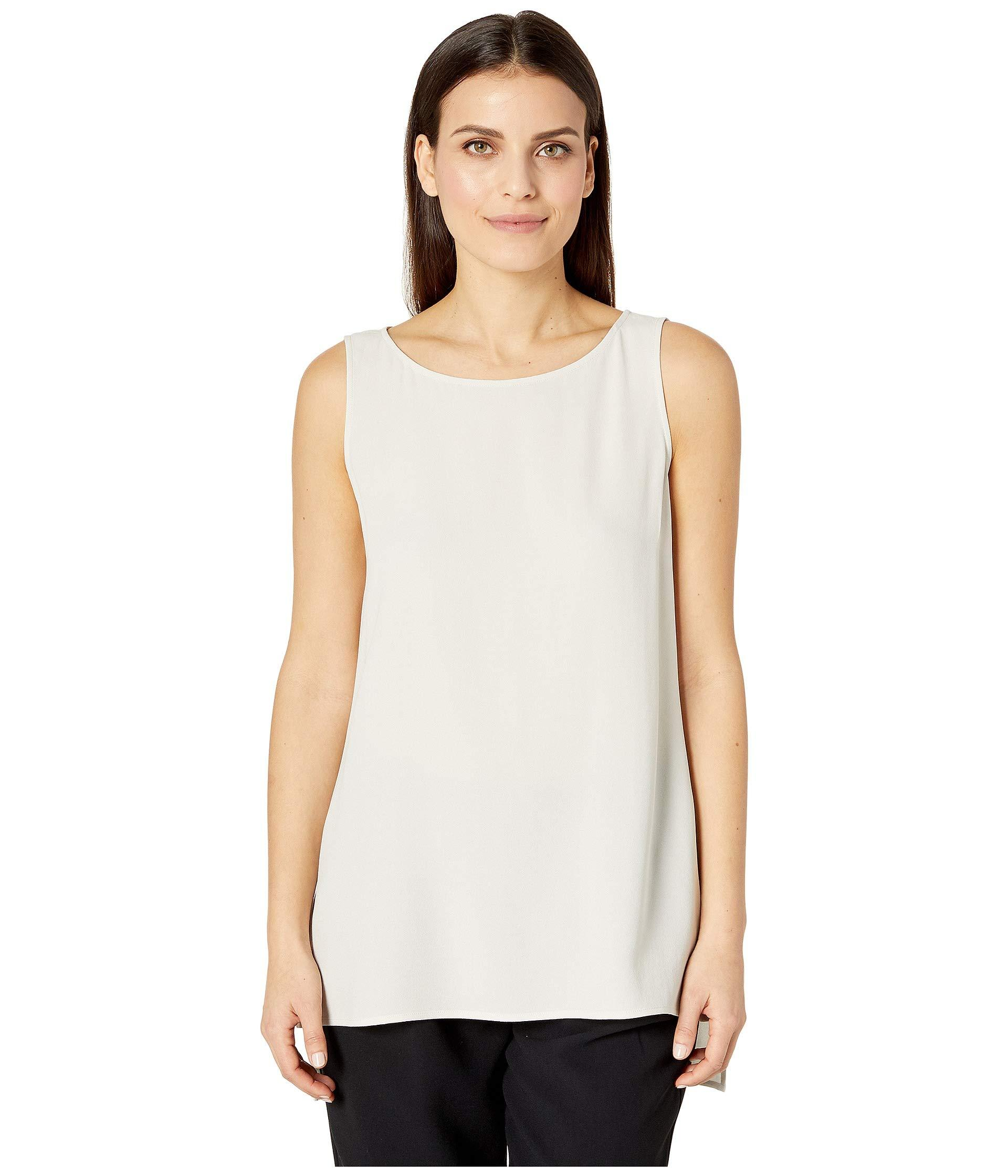 a8e73b13624 Eileen Fisher. White Petite Silk Georgette Crepe Bateau Neck Long Shell ...