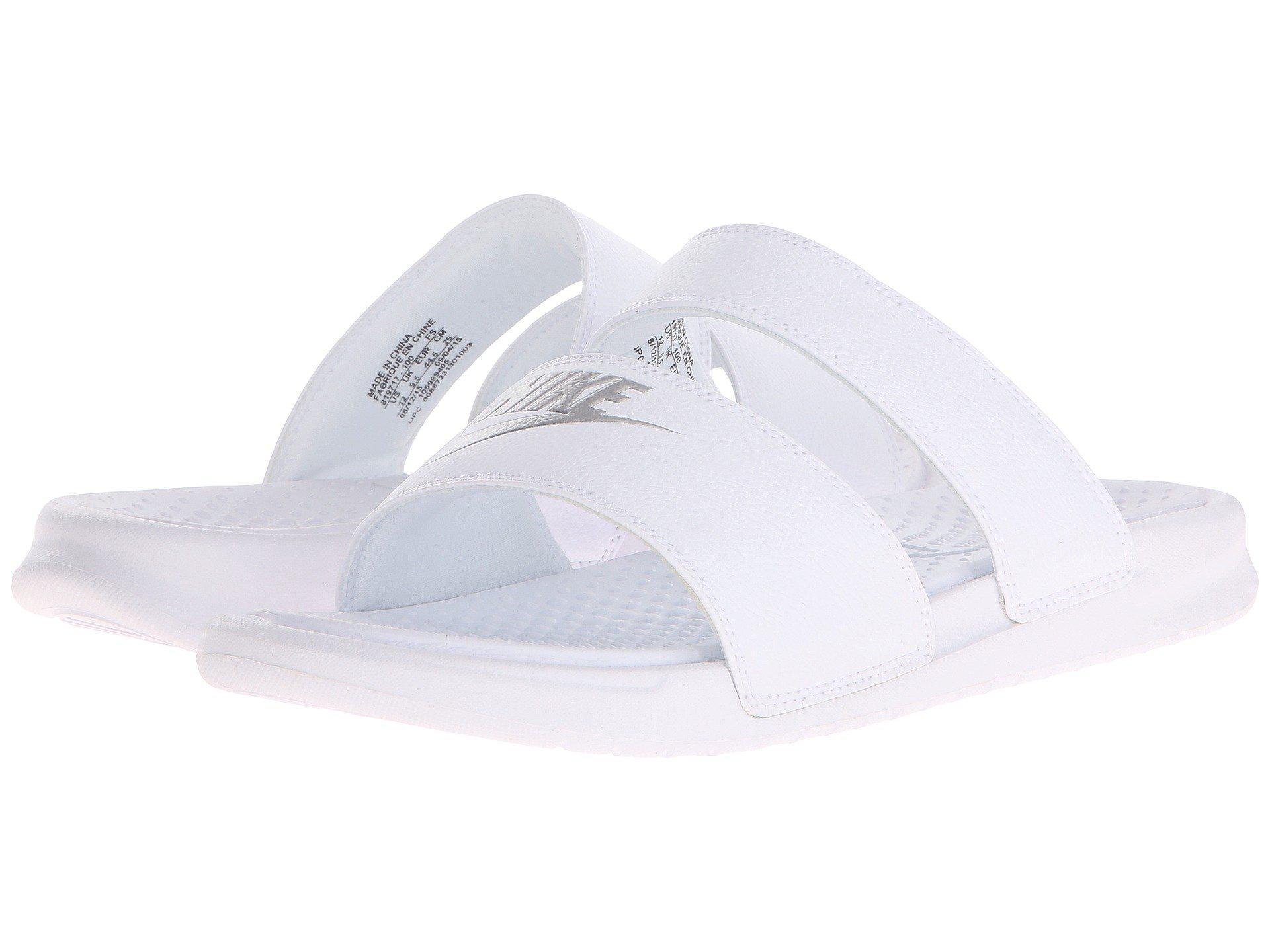 748bf1aa455b73 Lyst - Nike Benassi Duo Ultra Slide (white metallic Silver) Women s ...