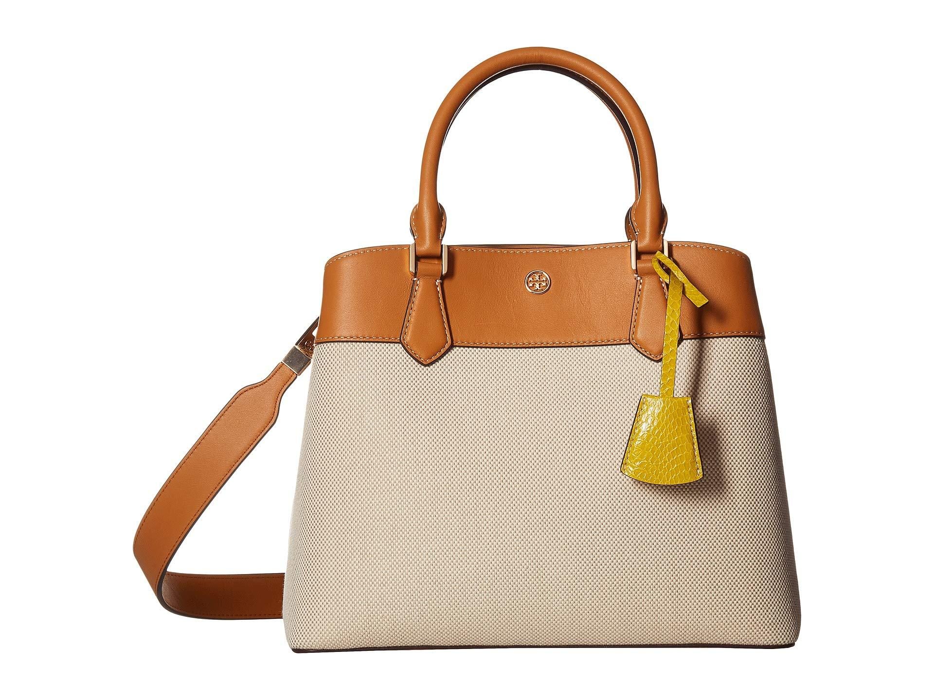 96df0af25a6c Lyst - Tory Burch Robinson Canvas Triple-compartment Tote (natural ...