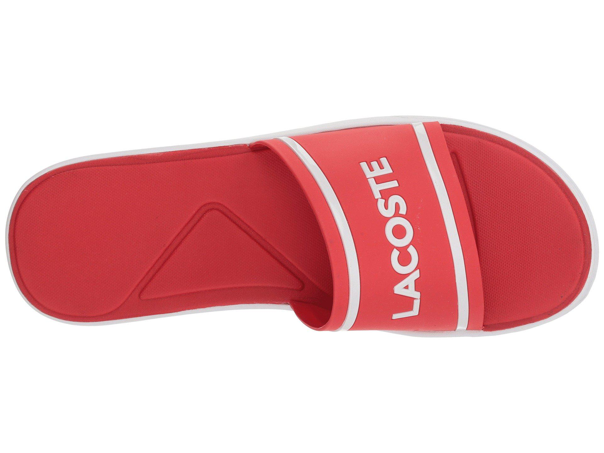 9034ab8e8e26ad Lyst - Lacoste L.30 Slide 218 1 (red white) Men s Slide Shoes in Red ...