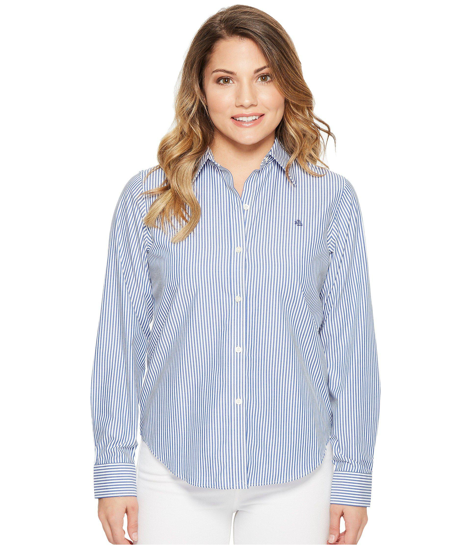 e343f50eeed Lauren by Ralph Lauren. Petite Striped Cotton Shirt (blue white) Women s  Clothing