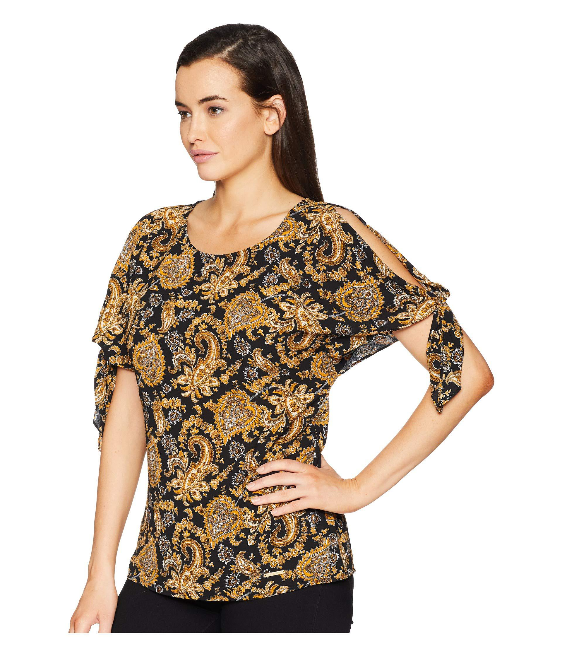 4b20a2d67b422 Lyst - Michael Michael Kors Plus Size Sweatheart Paisley Top  (black marigold) Women s Clothing in Black - Save 12%