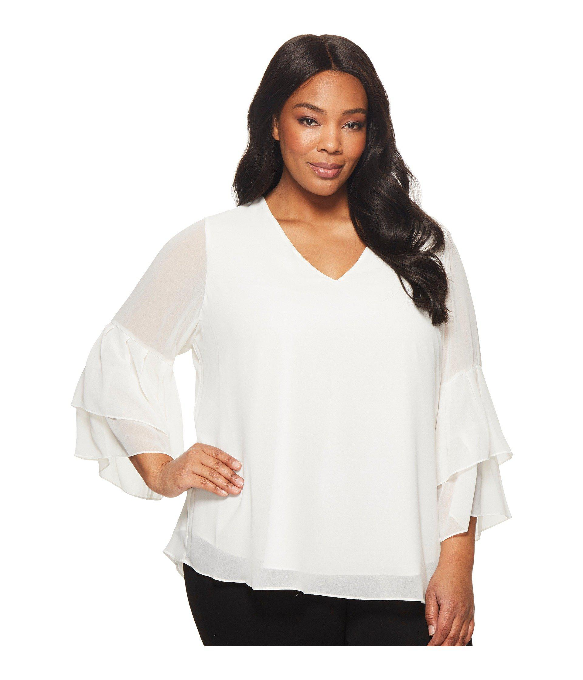 ae1bb692675 Lyst - Calvin Klein Plus Size V-neck Blouse With Two Tier Sleeve in ...