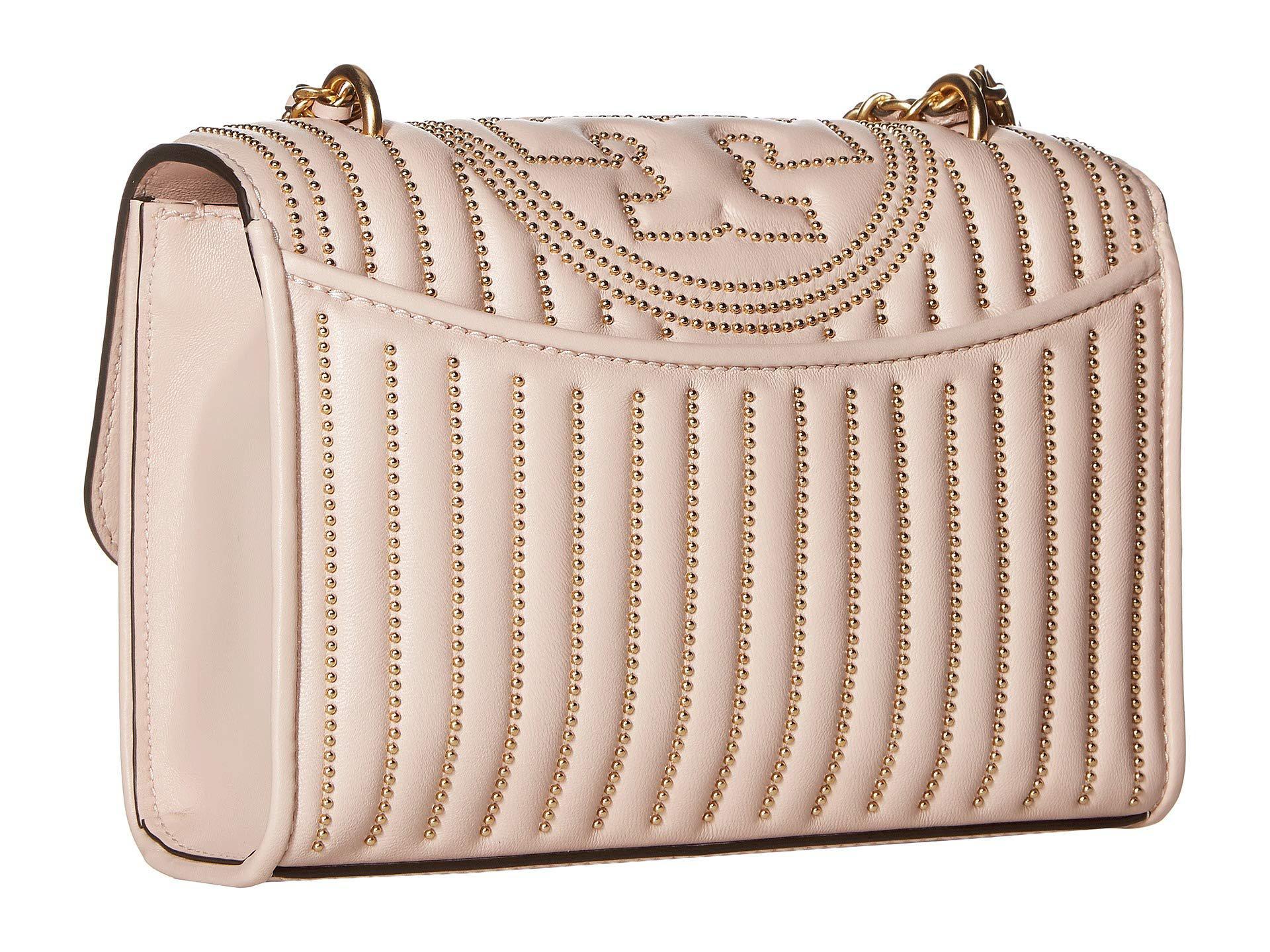 8dd7d1e10f06 Tory Burch - Pink Fleming Mini Stud Small Convertible Shoulder Bag  (black silver). View fullscreen