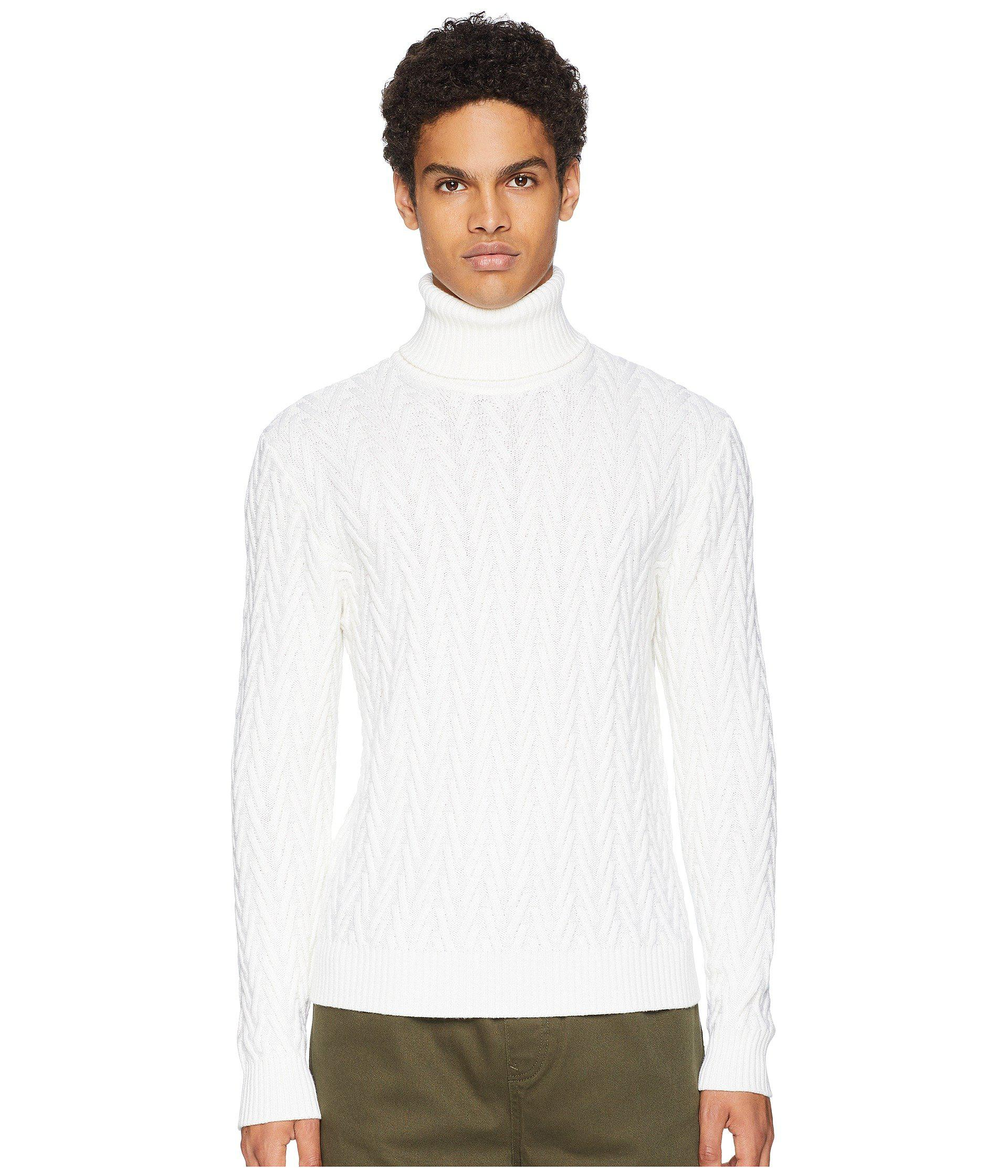 Lyst Eleventy Textured Turtleneck Sweater White Mens Sweater In