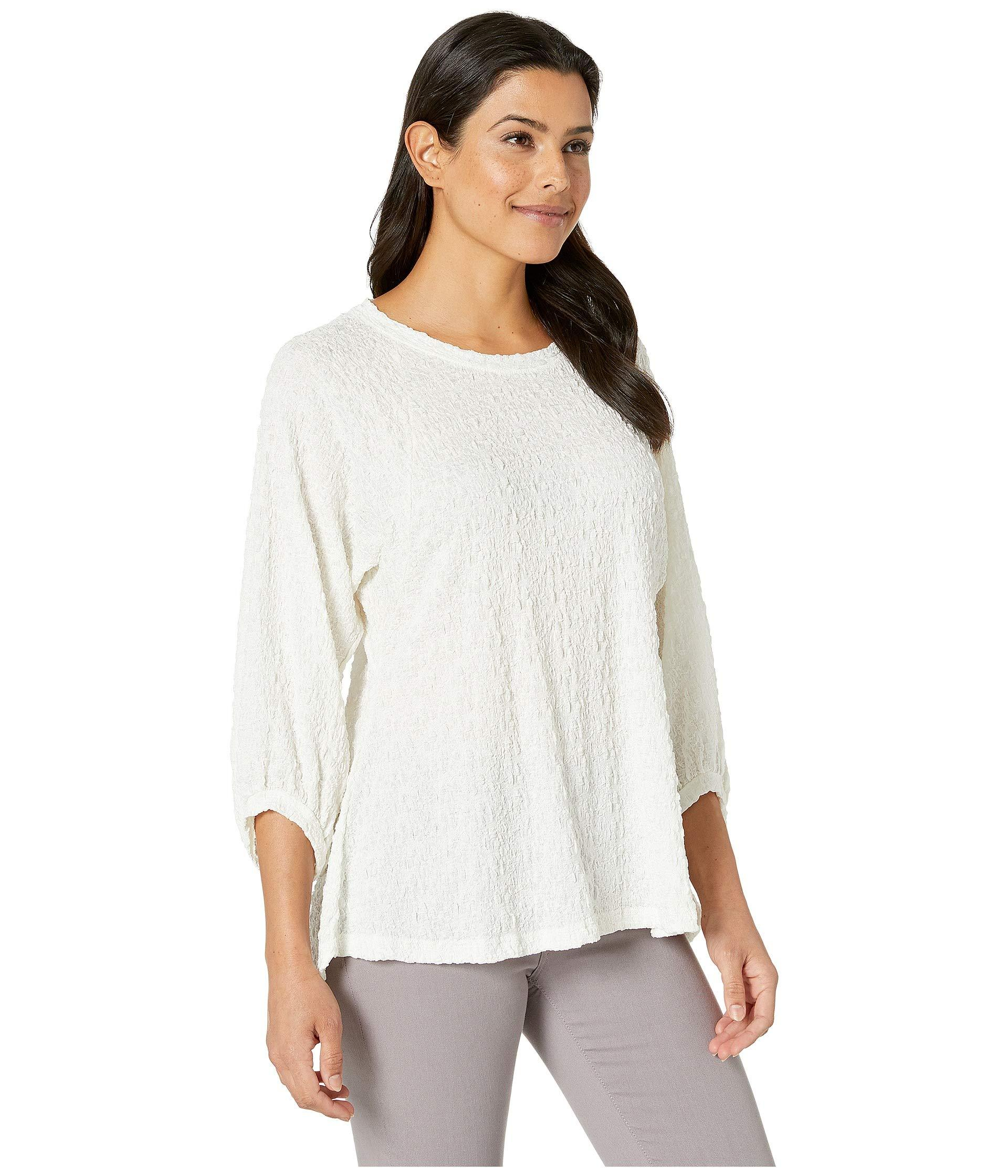 e636014f0f44c Lyst - Nally   Millie Jacquard Peasant Sleeve High-low Top (white ...