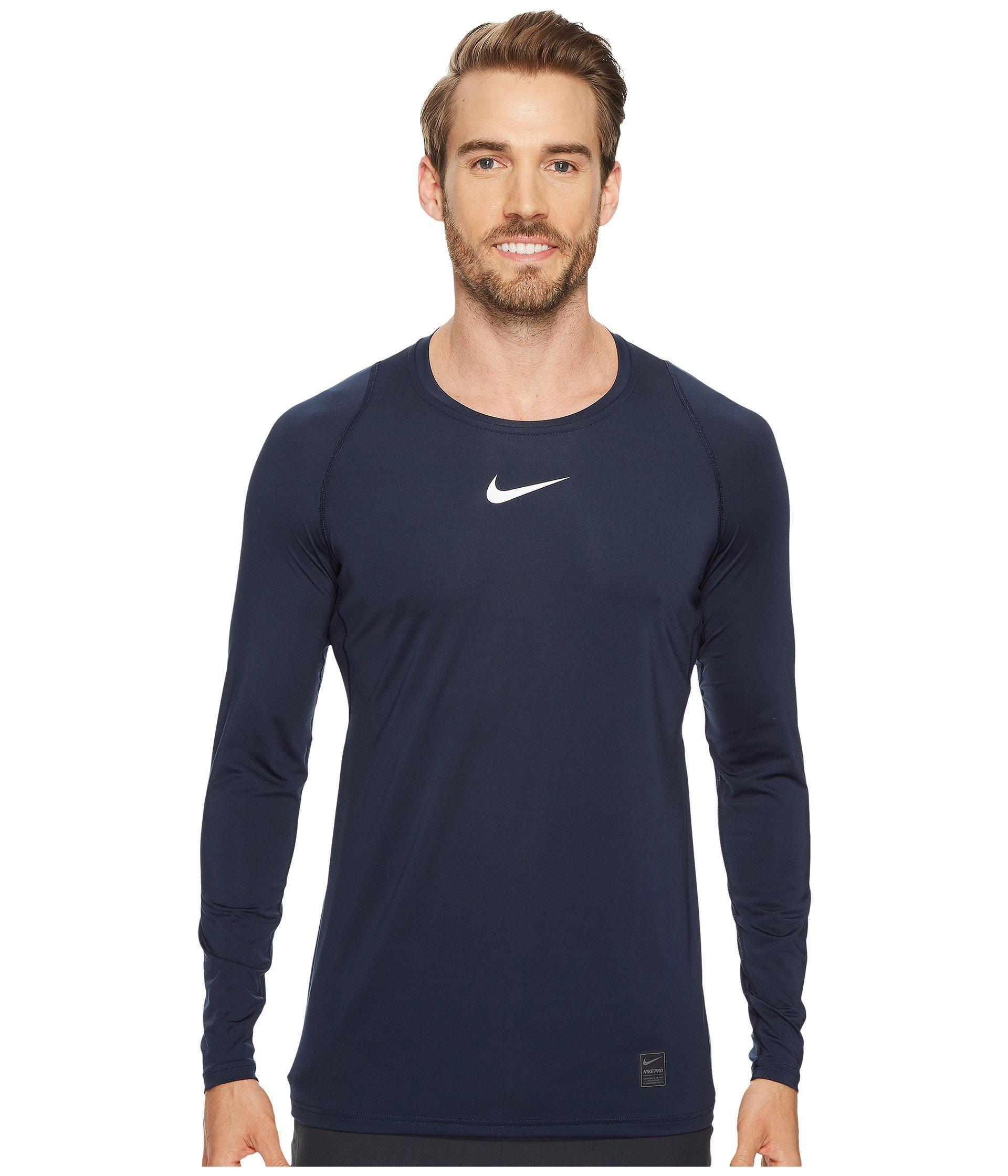 d2c163ab9242c Lyst - Nike Pro Fitted Long Sleeve Training Top (black white white ...
