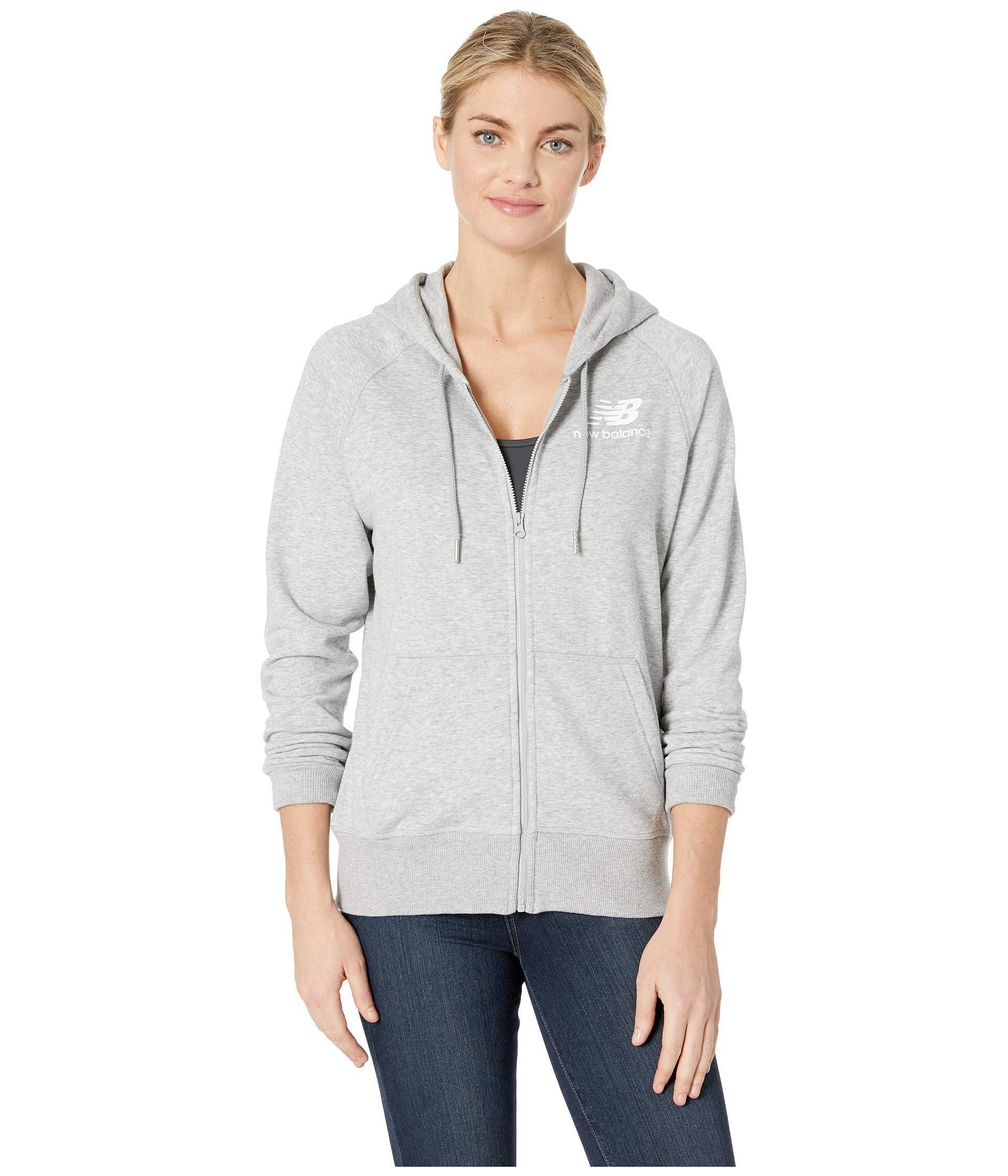 677cae2f6ea8a New Balance. Gray Essentials Full Zip Hoodie (pigment) Women's Sweatshirt