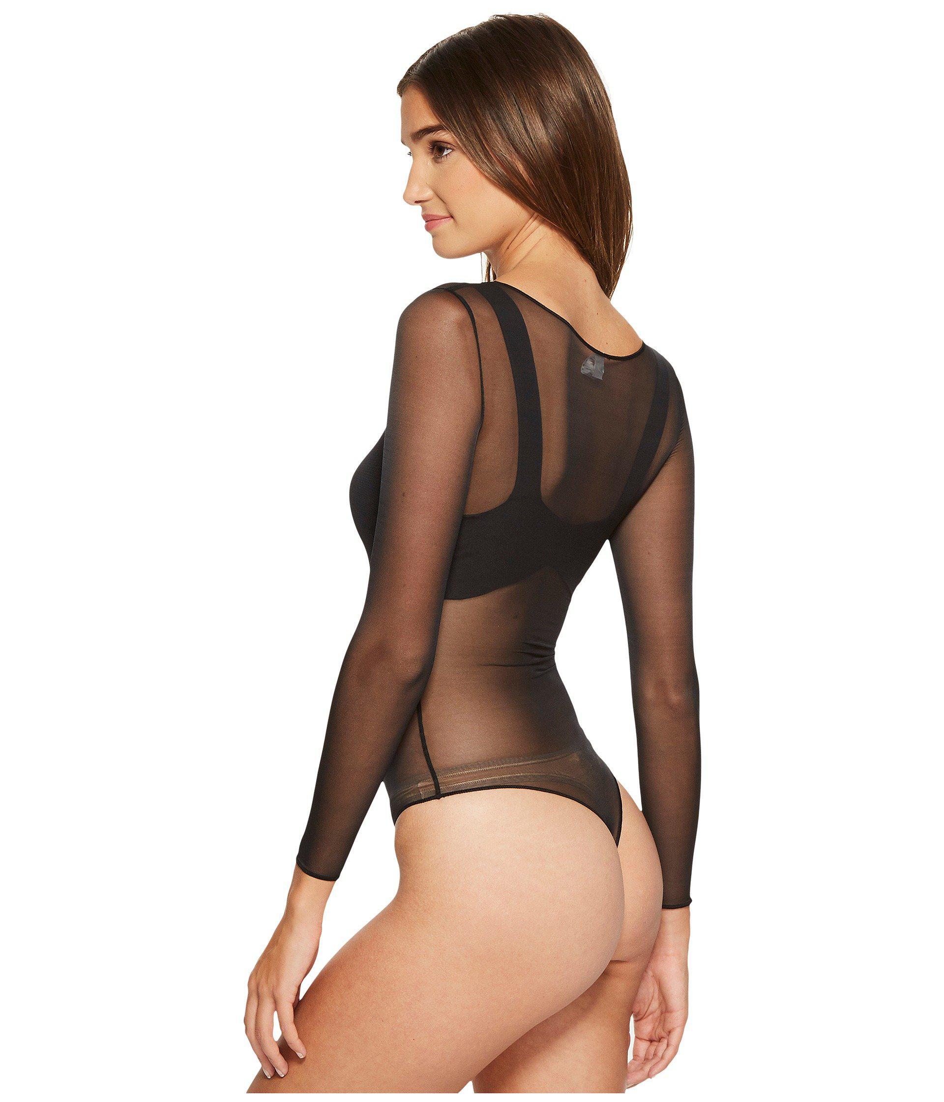 5c256615a2 Spanx - Black Sheer Fashion Mesh Thong Bodysuit (flocked Dot) Women s  Jumpsuit   Rompers. View fullscreen