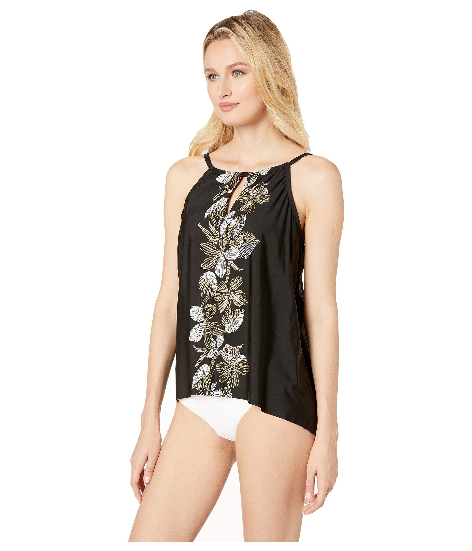 17a7bdb9d6 Lyst - Miraclesuit Handkerchief-hem Keyhole Tankini Top, Available In D/dd  in Black - Save 14%