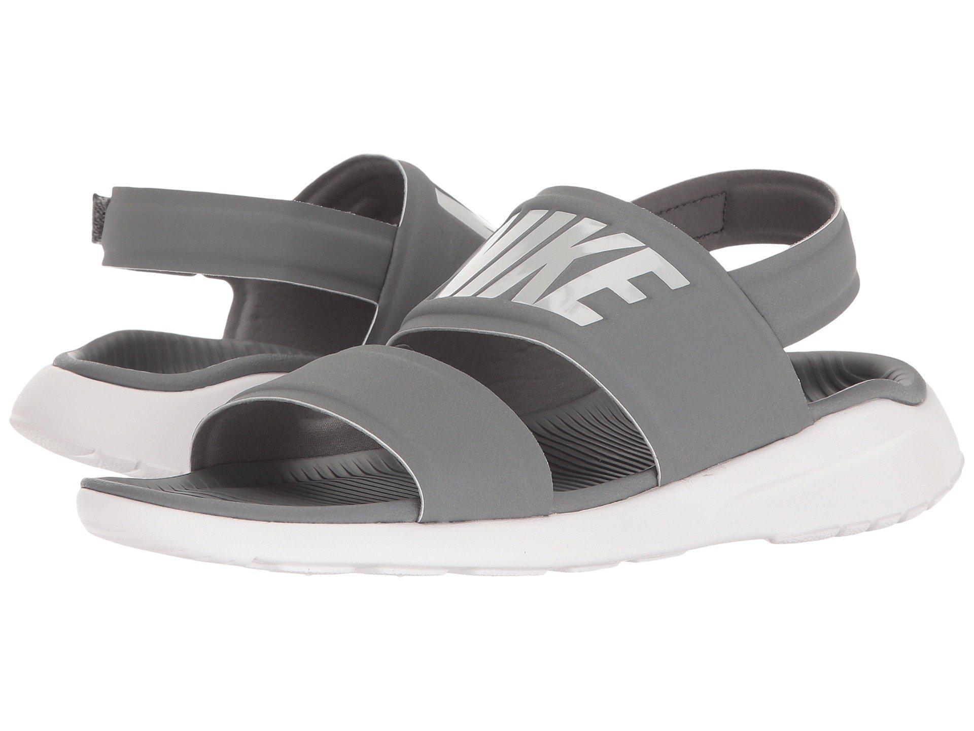 online store d6485 4d19e switzerland womens sandals academy 15ca1 2cb2f  coupon lyst nike tanjun  sandal black black white womens shoes in gray e768f f572e