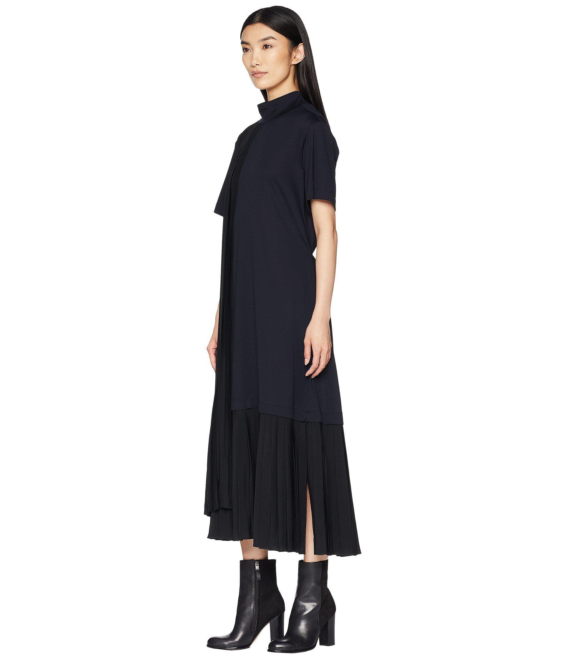 e63d5037 Jil Sander Navy Short Sleeve Dress Turtleneck And Plisst Details (navy)  Women's Dress in Blue - Lyst