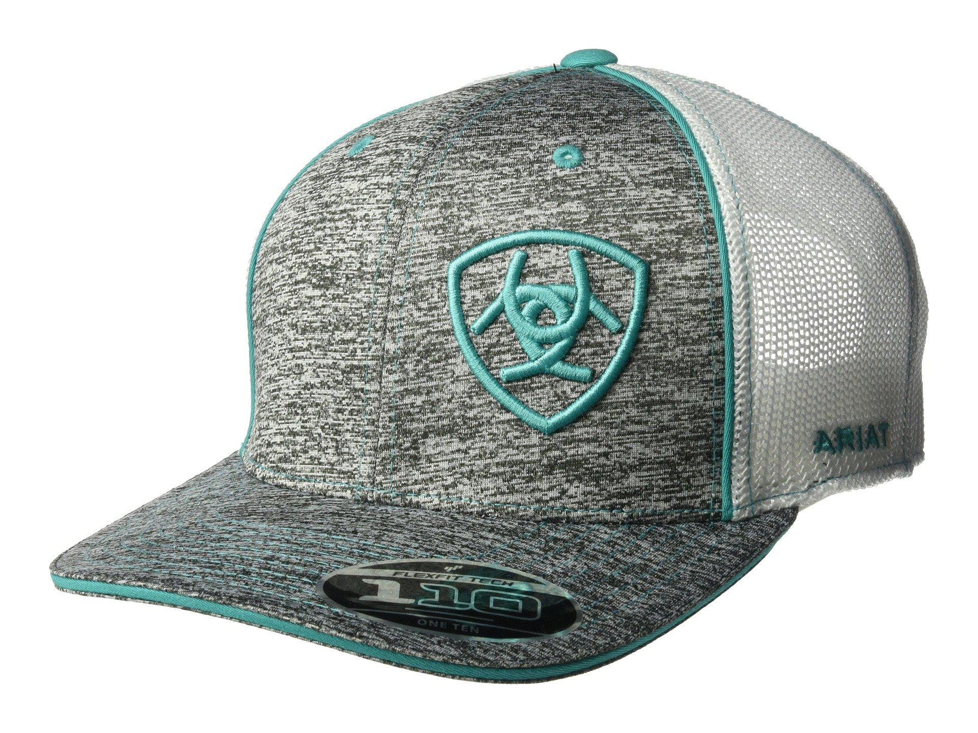 43942d2bbc51e Lyst - Ariat Embroidered Shield Flexfit Cap (grey turquoise) Caps in ...