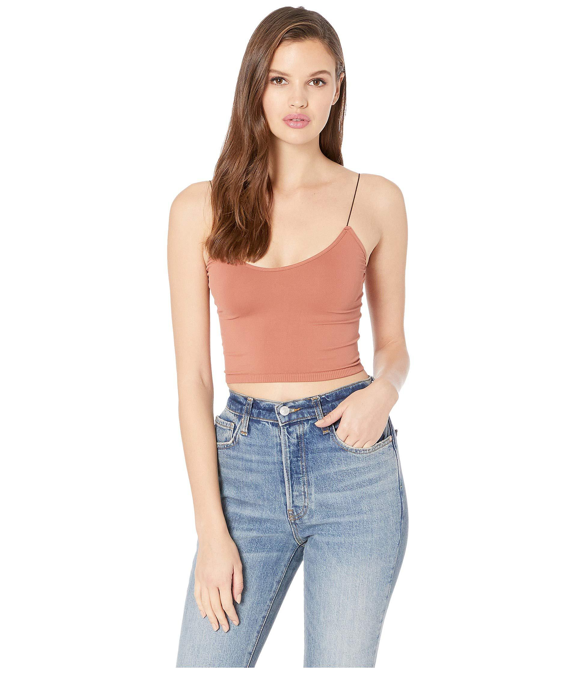 4be7c4c30c578 Lyst - Free People Seamless Skinny Strap Crop Cami (white) Women s ...