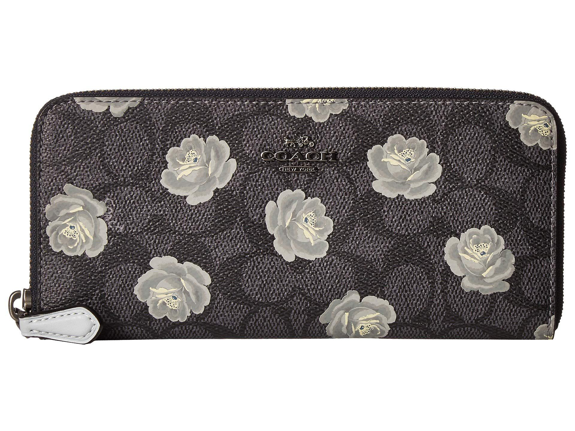 Lyst - COACH Accordion Zip Wallet In Signature Rose Print (b4 tan ... 31e3d4c417