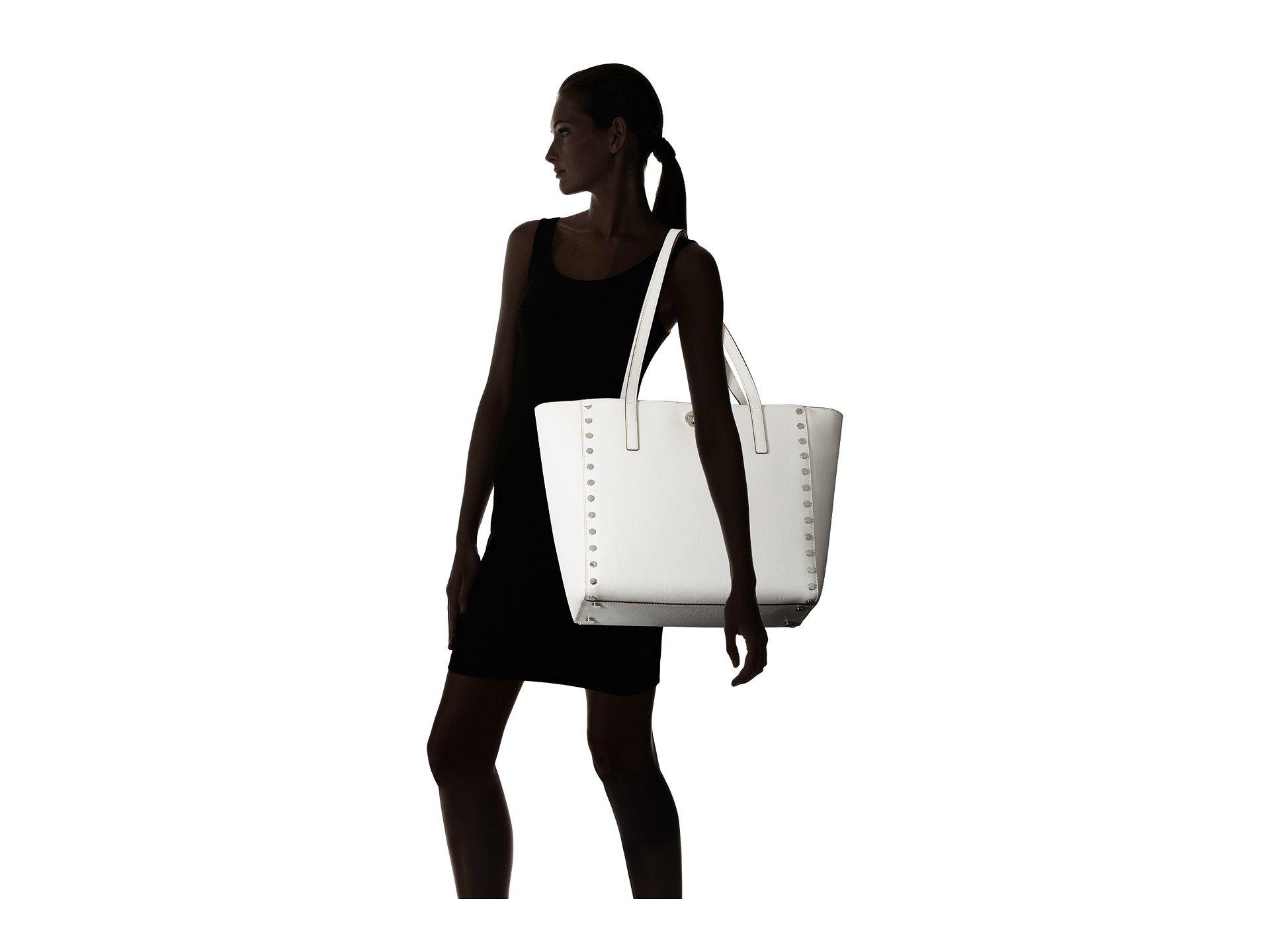 06049e37a0a9 MICHAEL Michael Kors Rivington Stud Large Tote in White - Lyst