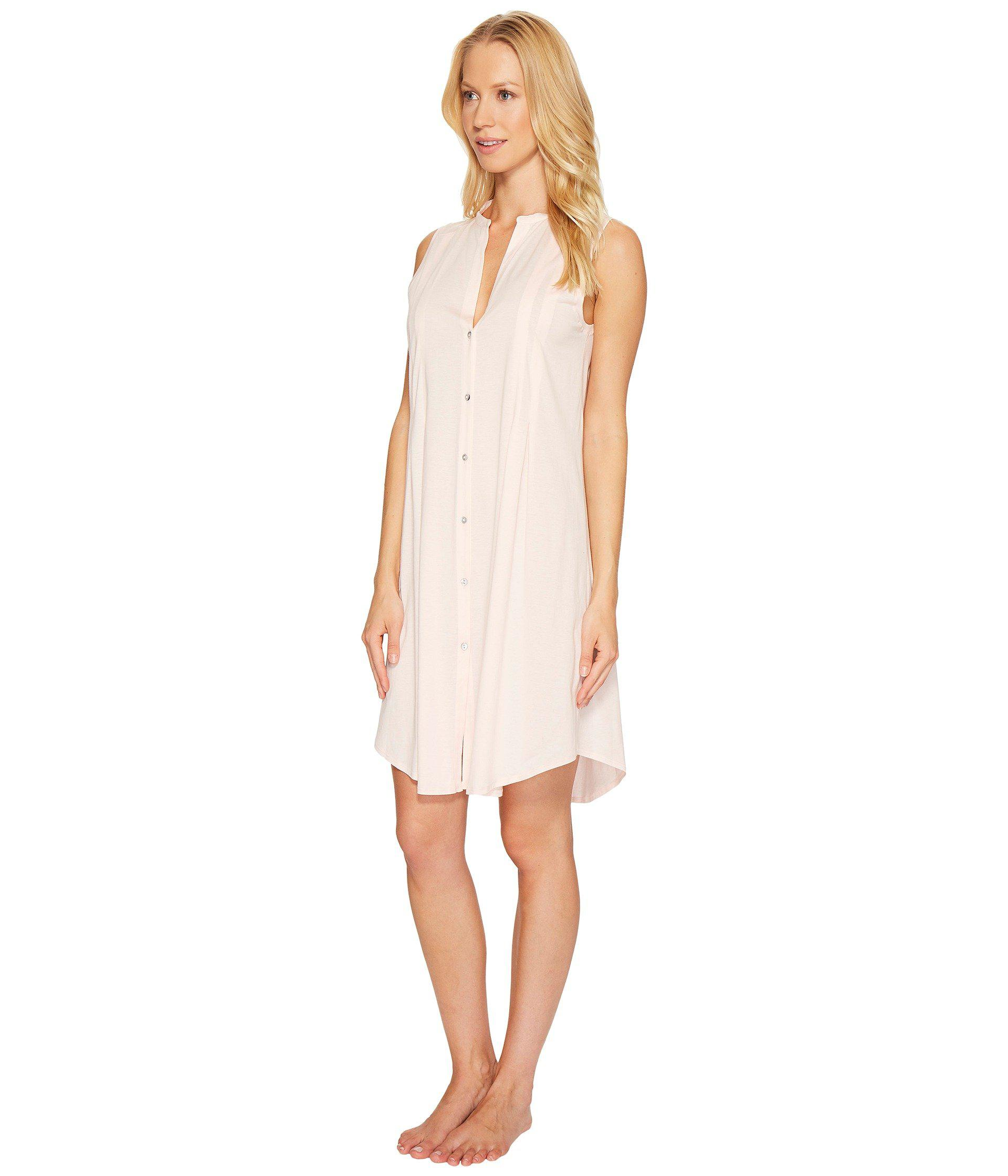 7e38f4b59d Lyst - Hanro Cotton Deluxe Button Front Tank Nightgown (tender Rose)  Women s Pajama in Pink