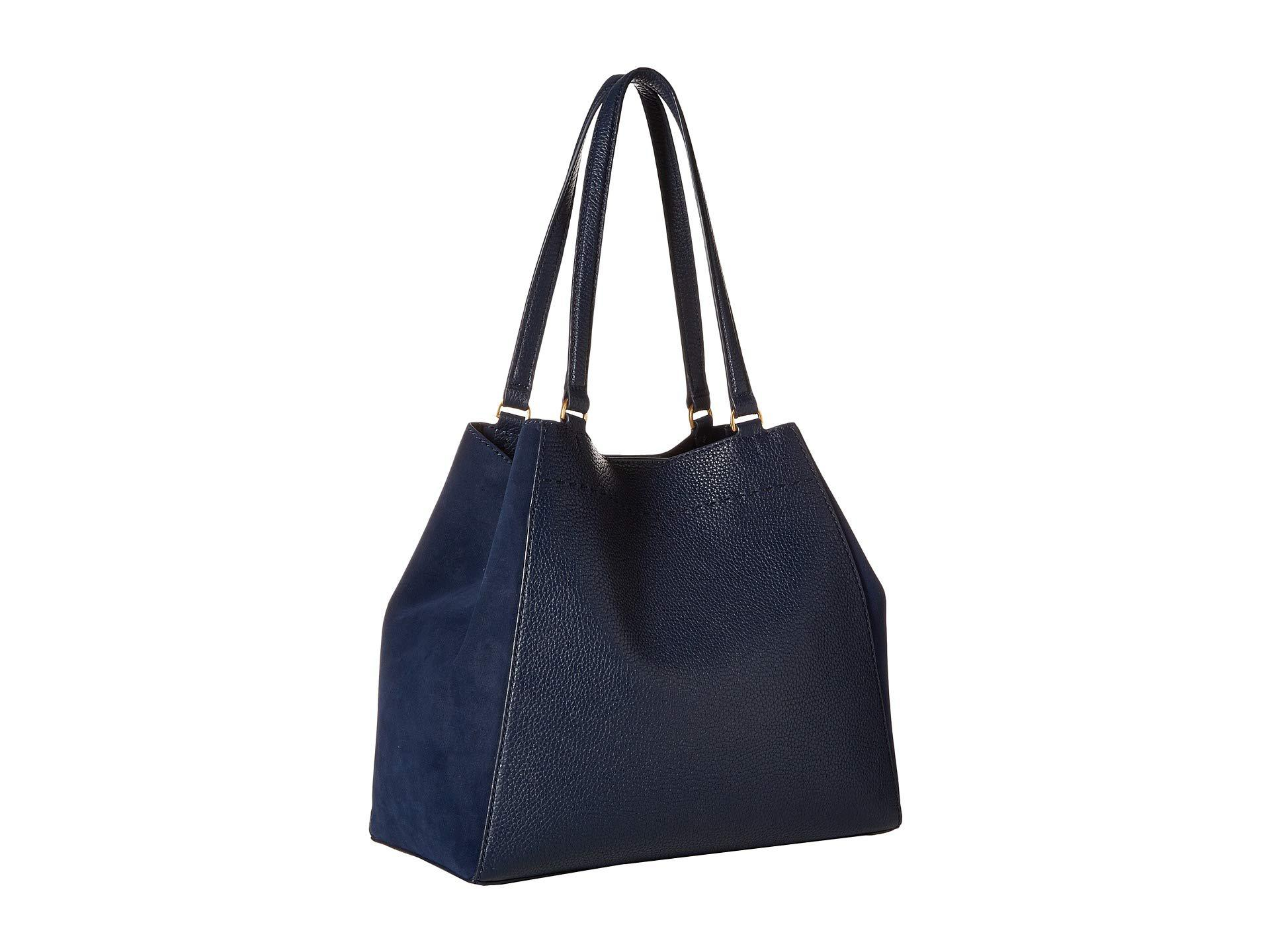 b4c106f8e3330a Lyst - Tory Burch Mcgraw Mixed Materials Carryall (royal Navy ...