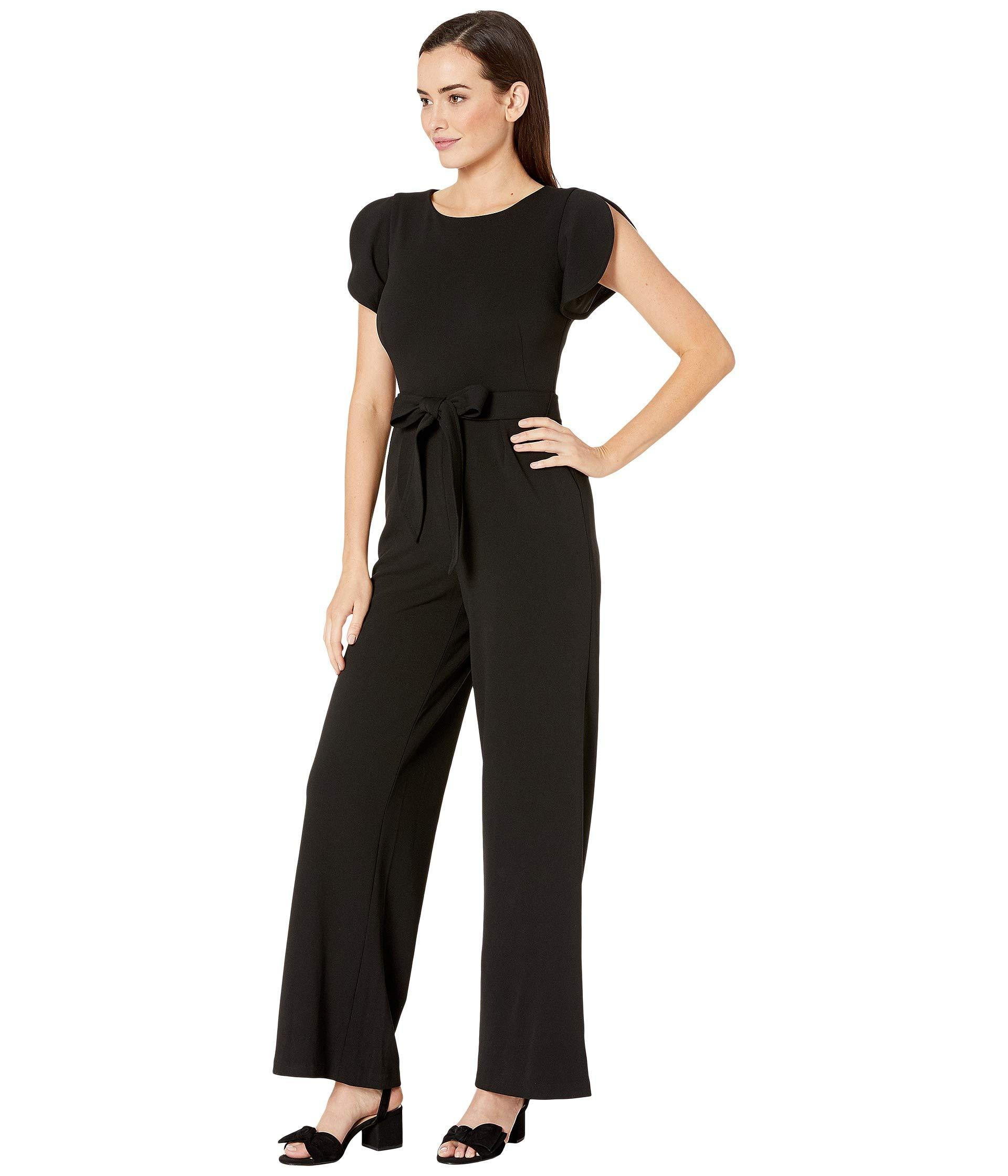 8d347805be Lyst - Calvin Klein Flutter Sleeve Jumpsuit W  Tie Belt (black) Women s  Jumpsuit   Rompers One Piece in Black