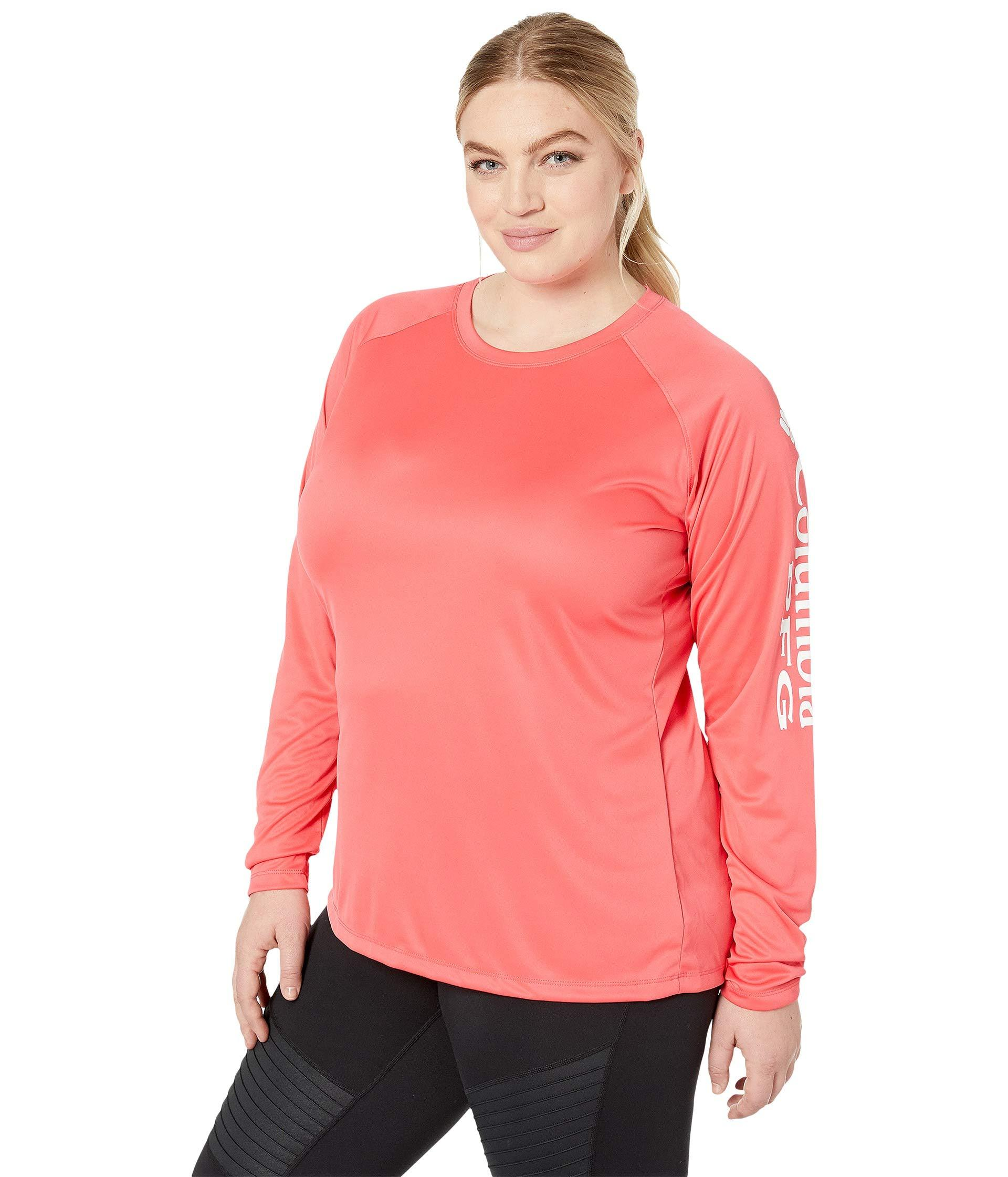 5bd525245b3ca Columbia. Pink Plus Size Tidal Teetm Ii Long Sleeve Shirt (bright Geranium  white) Women s Long Sleeve Pullover