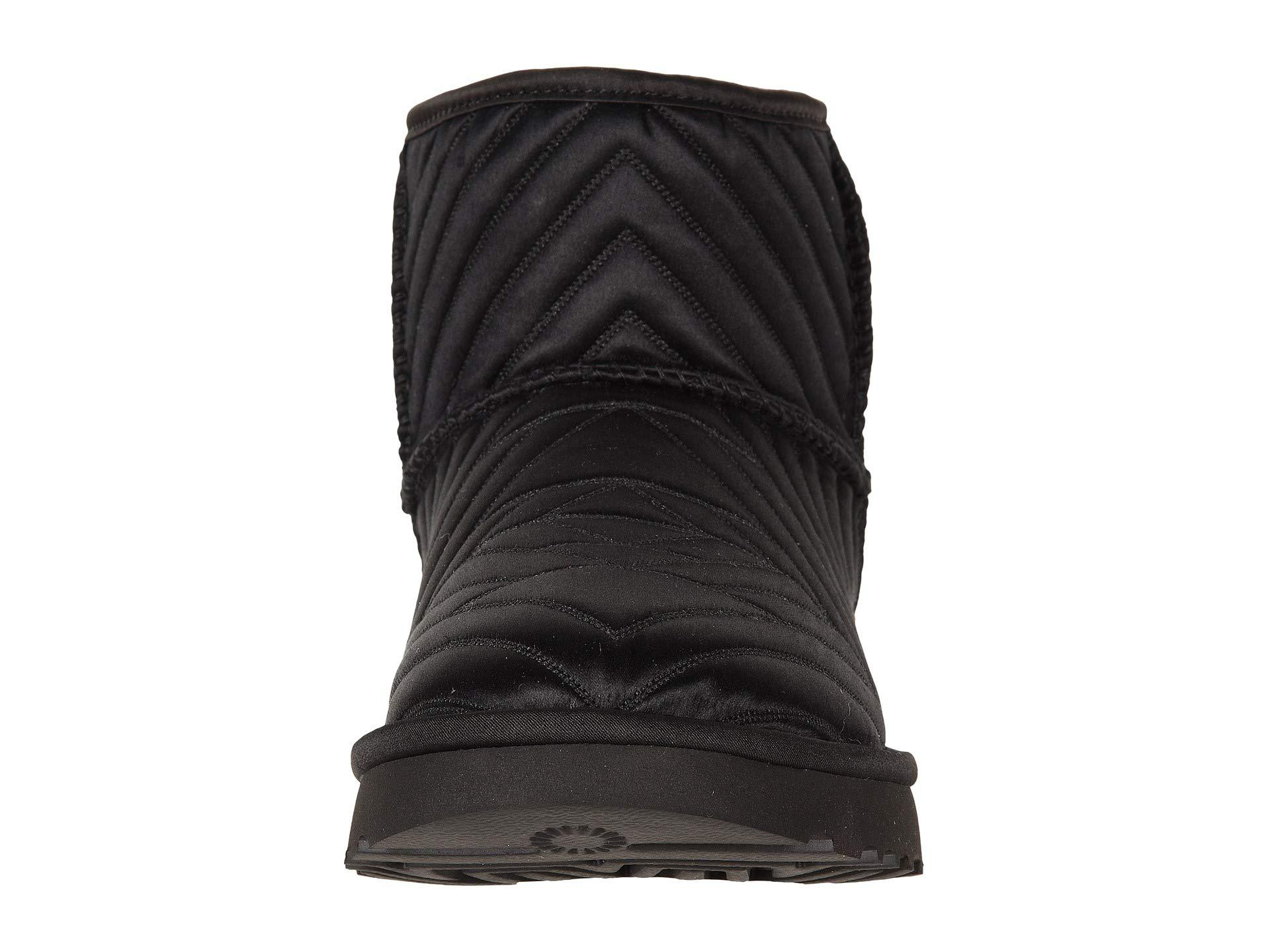 Ugg Classic Mini Quilted Satin Black Womens Pull On Boots In