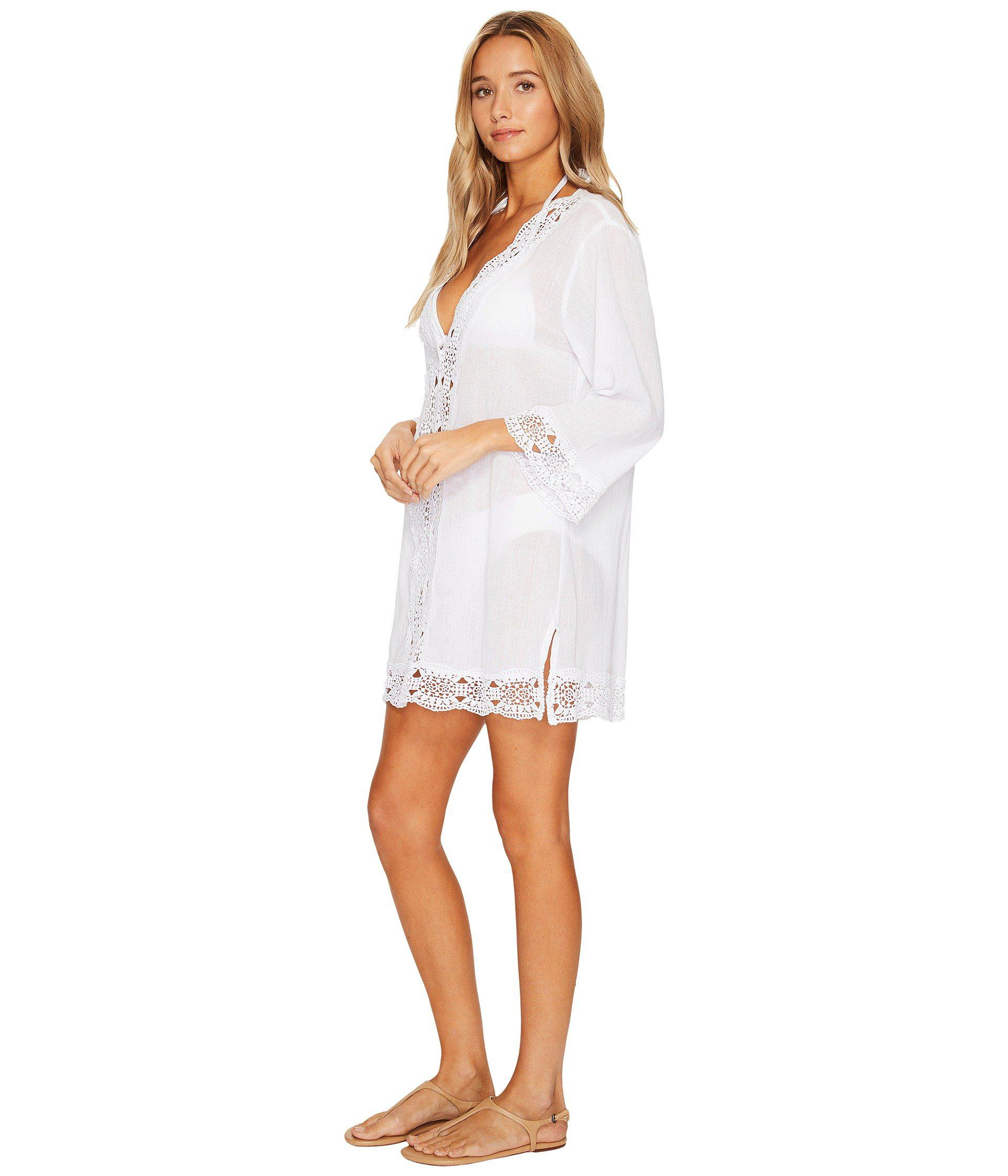 46d6940f2782d Lyst - La Blanca Island Fare V-neck Tunic Cover-up (black) Women's Swimwear  in White