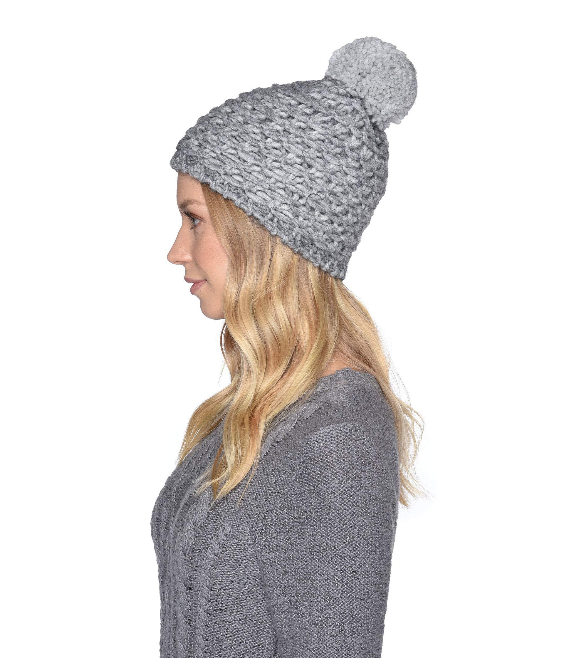 Lyst - UGG Yarn Pom Knit Hat (beige Multi) Caps in Gray 084721aadb03