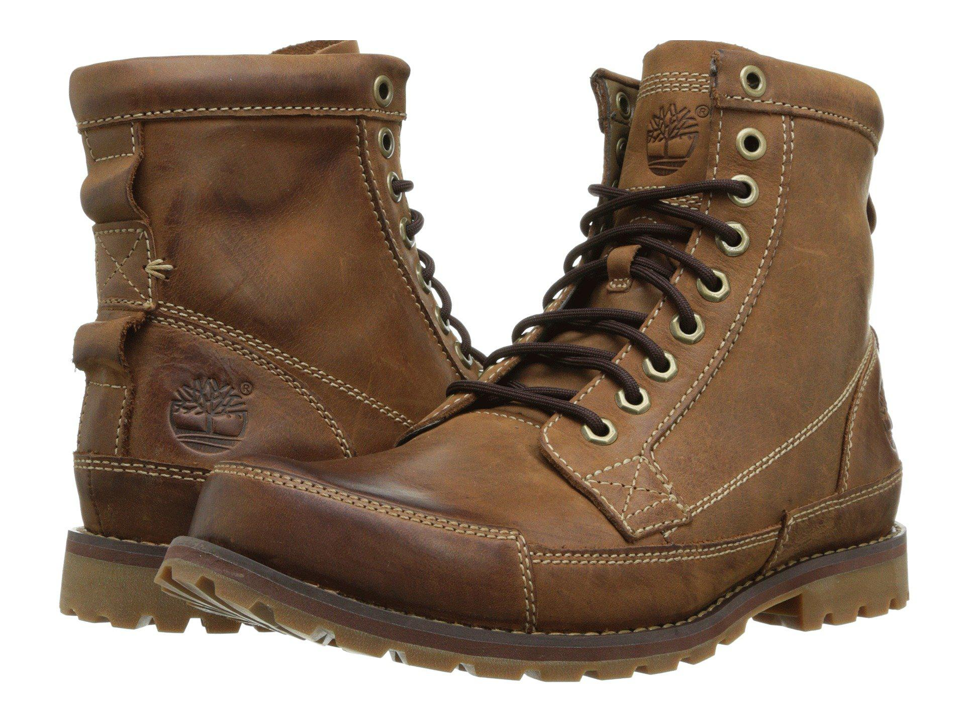Timberland Men/'s Earthkeepers Original Leather 6 Inch Boots Red Brown Burnished