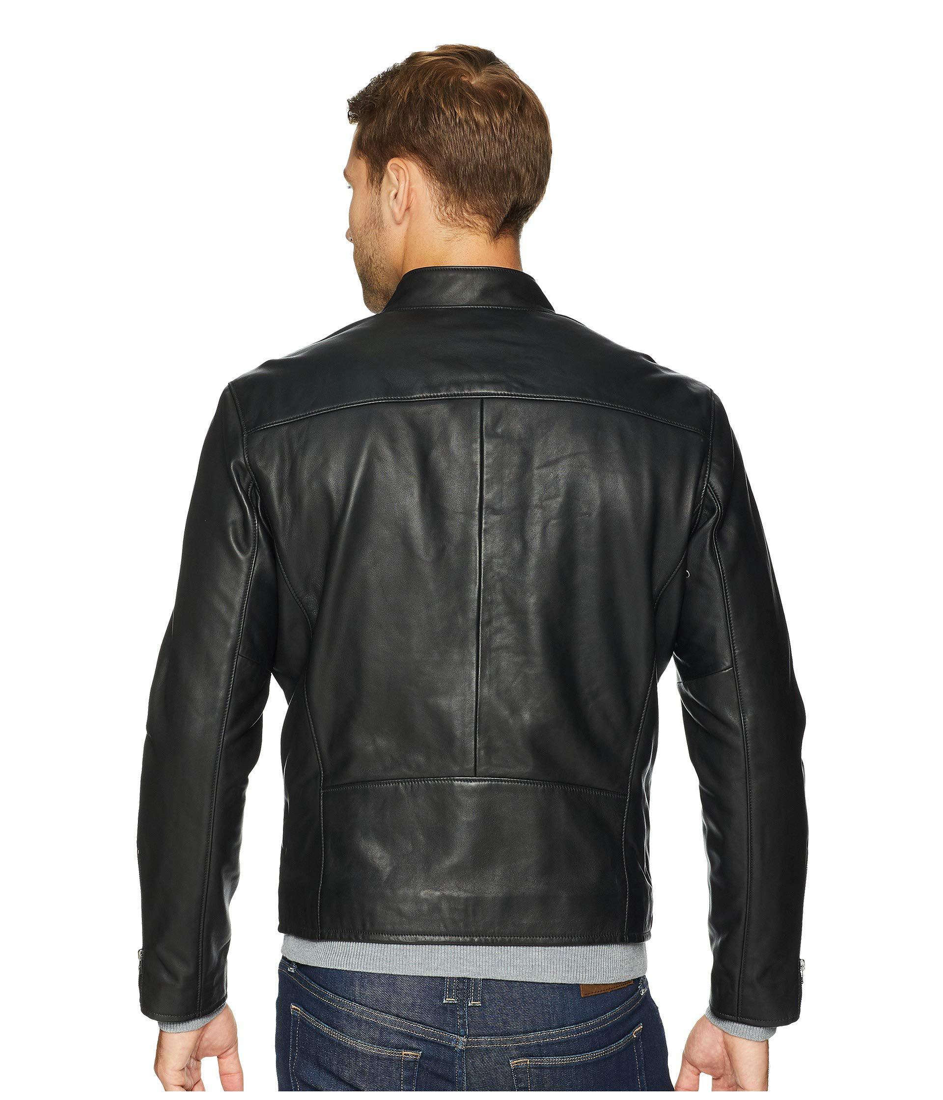 80b14106a Polo Ralph Lauren Cafe Racer Leather Jacket (polo Black) Men s Coat ...