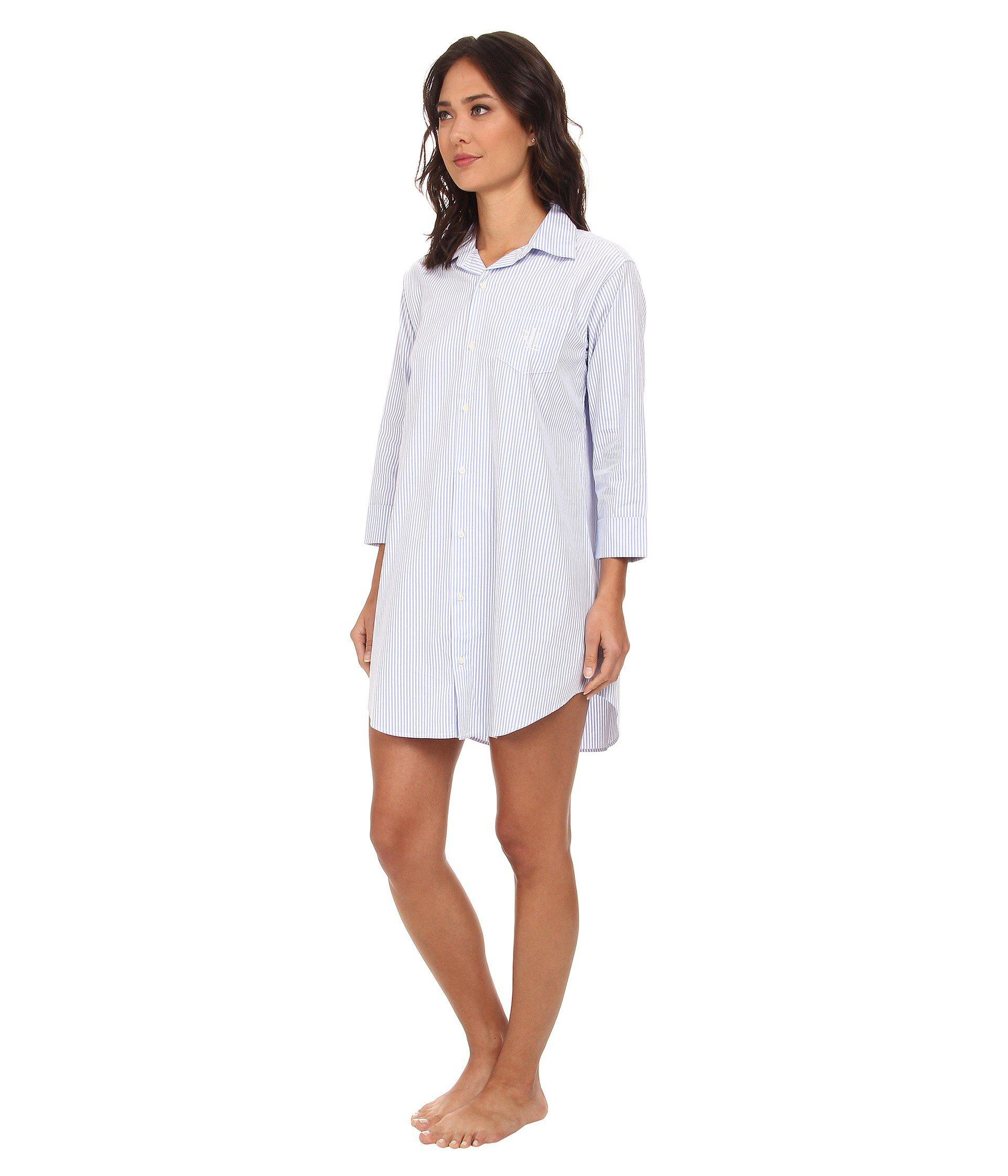 5aeed3bc5f Lyst - Lauren by Ralph Lauren Essentials Striped His Shirt (carissa Bengal  Stripe Pink Hyacinth white) Women s Pajama in Blue