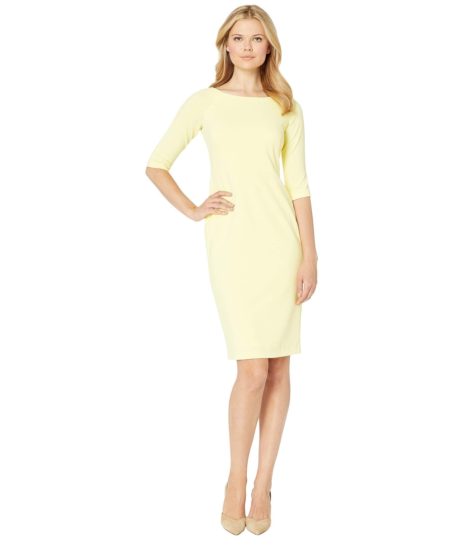 1572ac5a658 Calvin Klein. Yellow Solid Short Sleeve Sheath Dress (black) Women s Dress