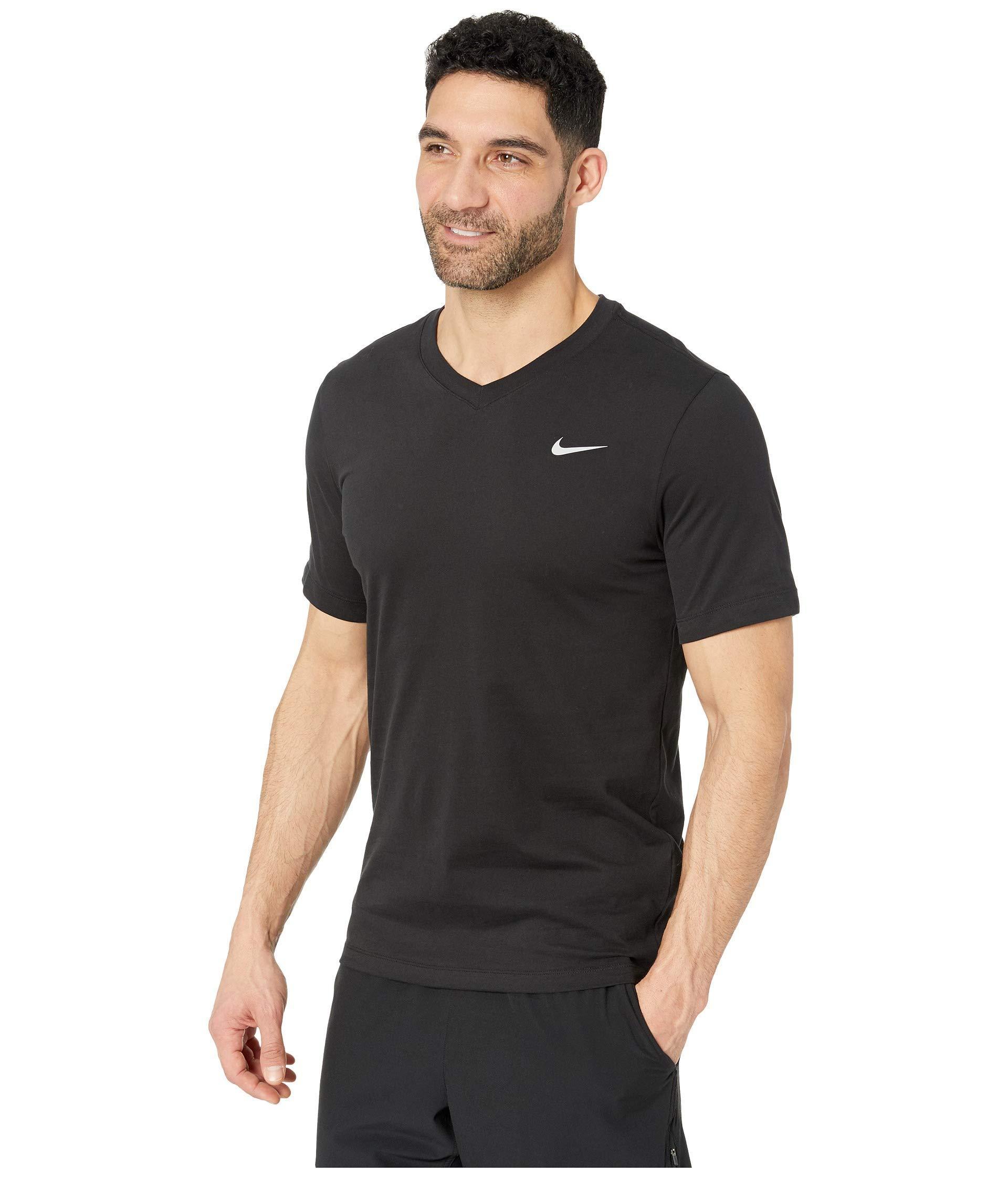 2cd78f70 Lyst - Nike Dry Tee Dri-fit Cotton V Solid (indigo Fog/light Armory  Blue/black) Men's Clothing in Black for Men
