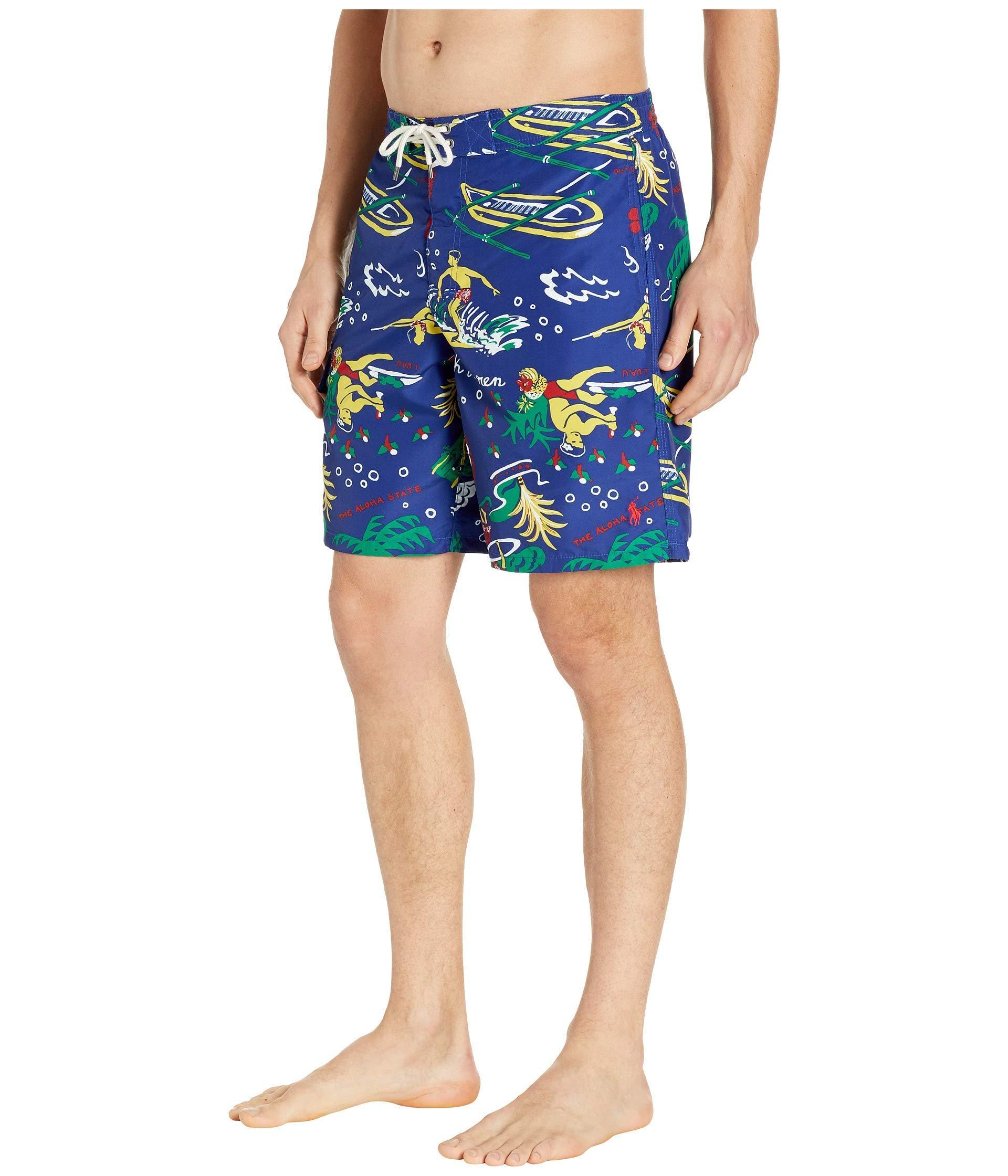 ecf3bd1c0d Lyst - Polo Ralph Lauren Kailua Swim Trunks (surfside Diary) Men's Swimwear  in Blue for Men