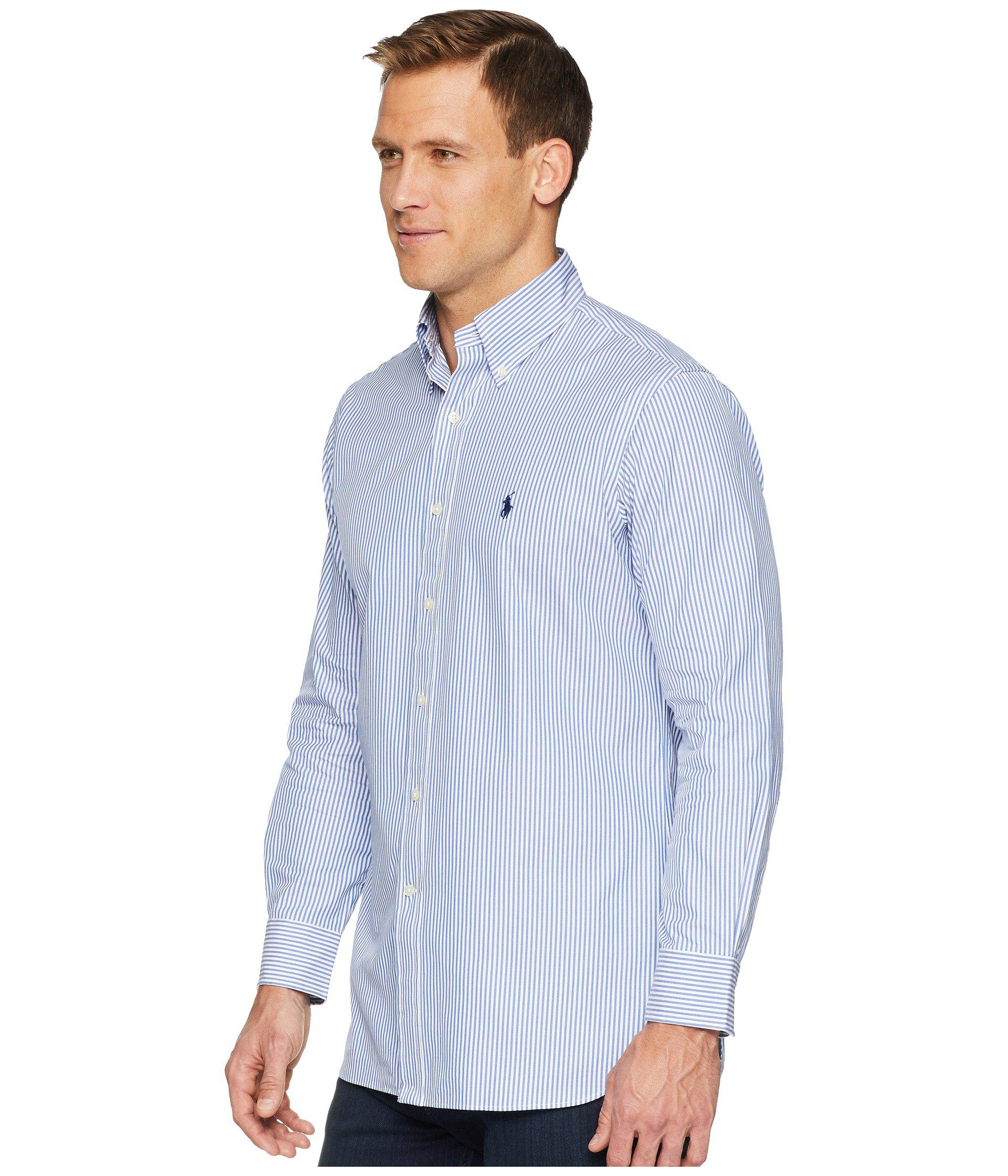 244357fa542 Lyst - Polo Ralph Lauren Standard Fit Poplin Dress Shirt (blue white  Stripe) Men s Long Sleeve Button Up in Blue for Men - Save 11%