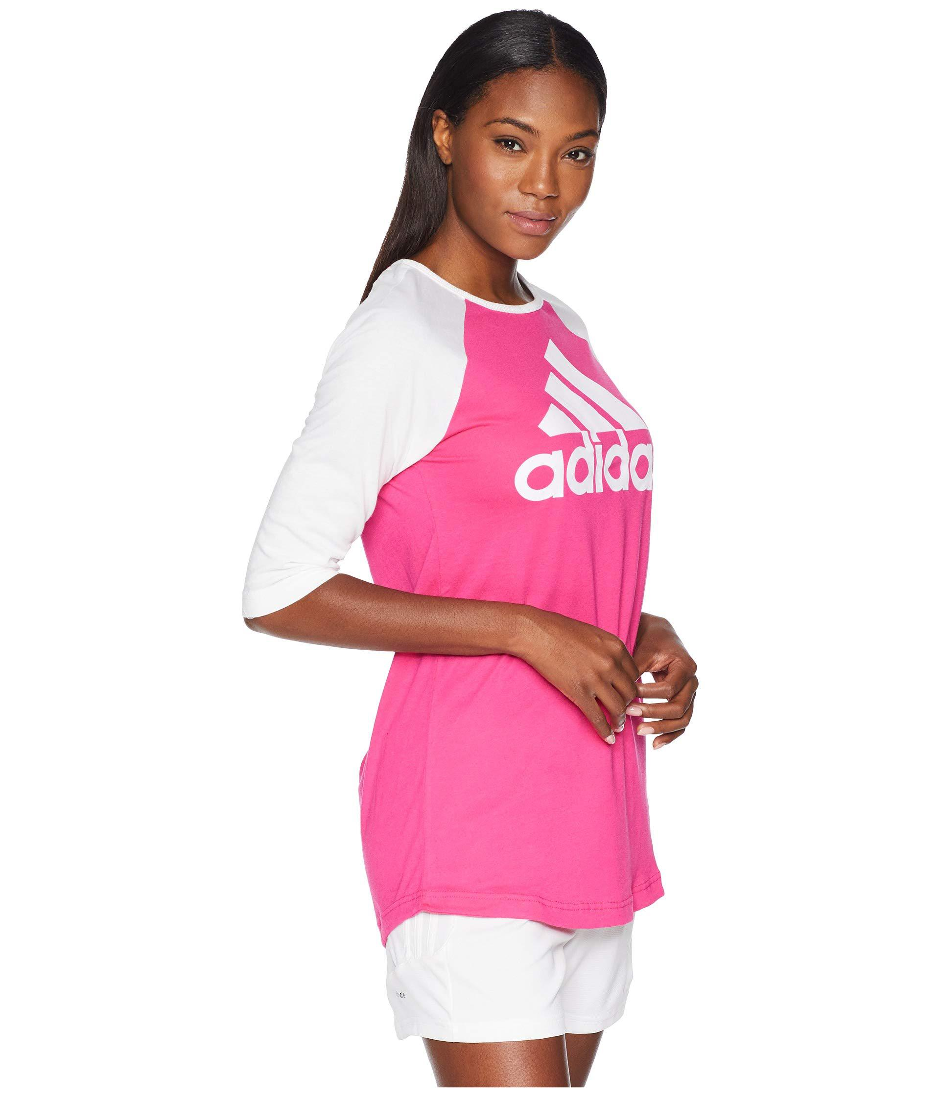 71b71b730c2 Adidas - Pink Sport Id Baseball T-shirt (real Magenta/white) Women's. View  fullscreen
