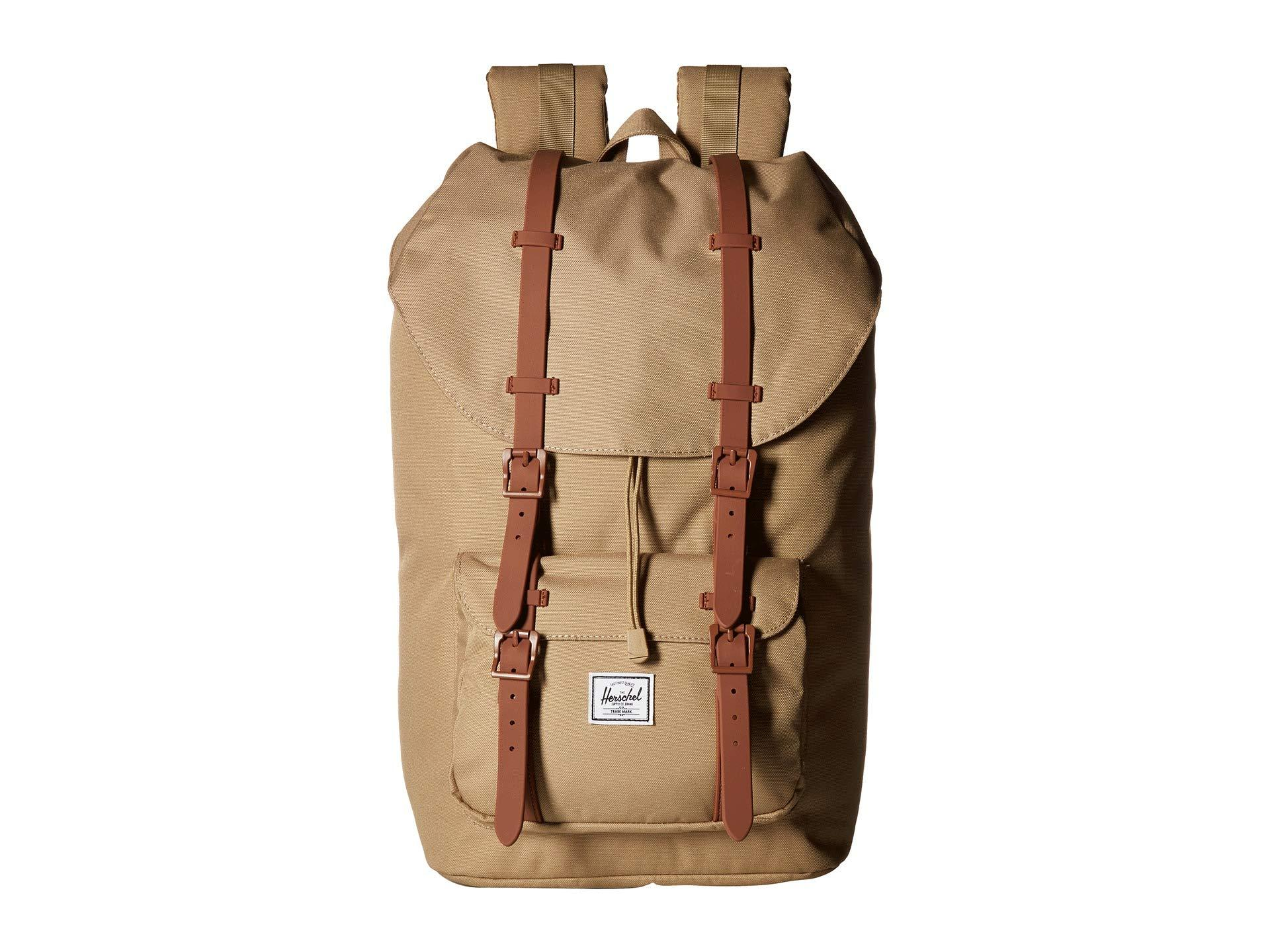 fa9c75f4916 Herschel Supply Co. Men s Black Little America (wine Tasting Crosshatch tan  Synthetic Leather) Backpack Bags