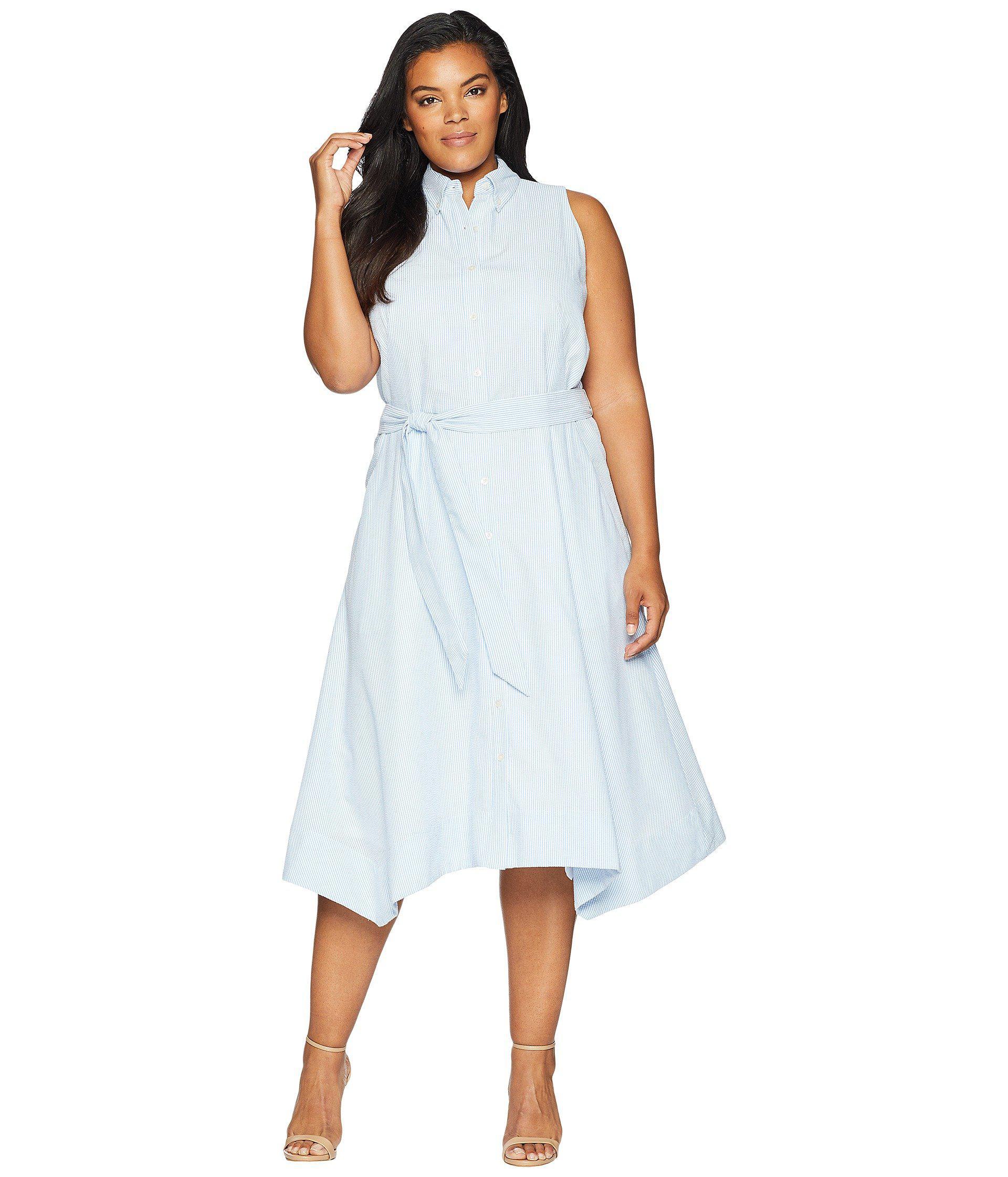 Tahari Plus Size Seersucker Shirtdress (blue/white) Women\'s Dress in ...