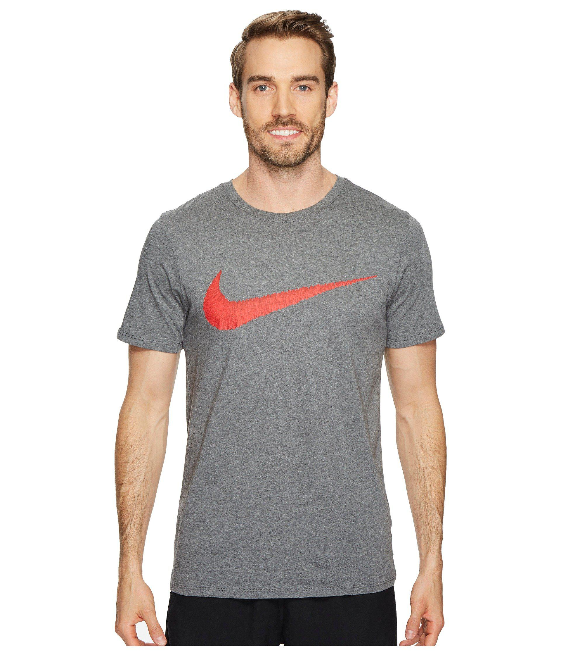 07755632f911 Lyst - Nike Hangtag Swoosh Tee (charcoal Heather university Red ...