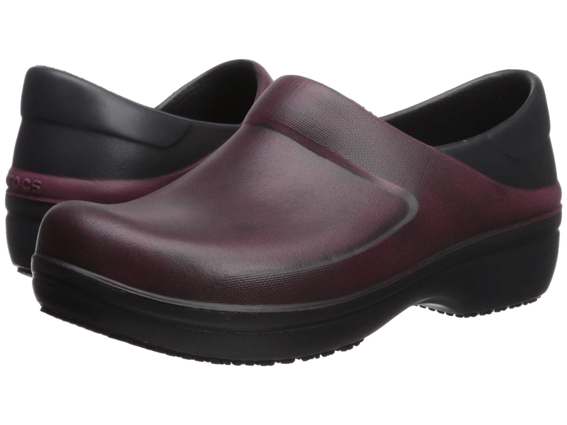 a57855a74bbef6 Lyst - Crocs™ Work Neria Pro Ii Distressed Clog (garnet black ...