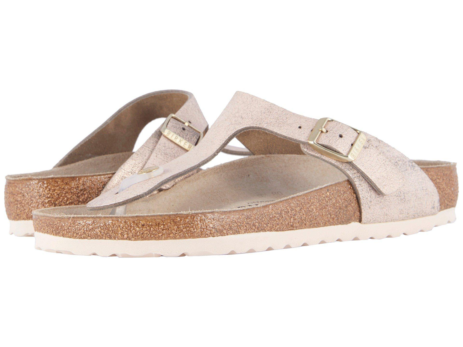 cec09ead3222f Lyst - Birkenstock Gizeh (washed Metallic Rose Leather) Women s ...