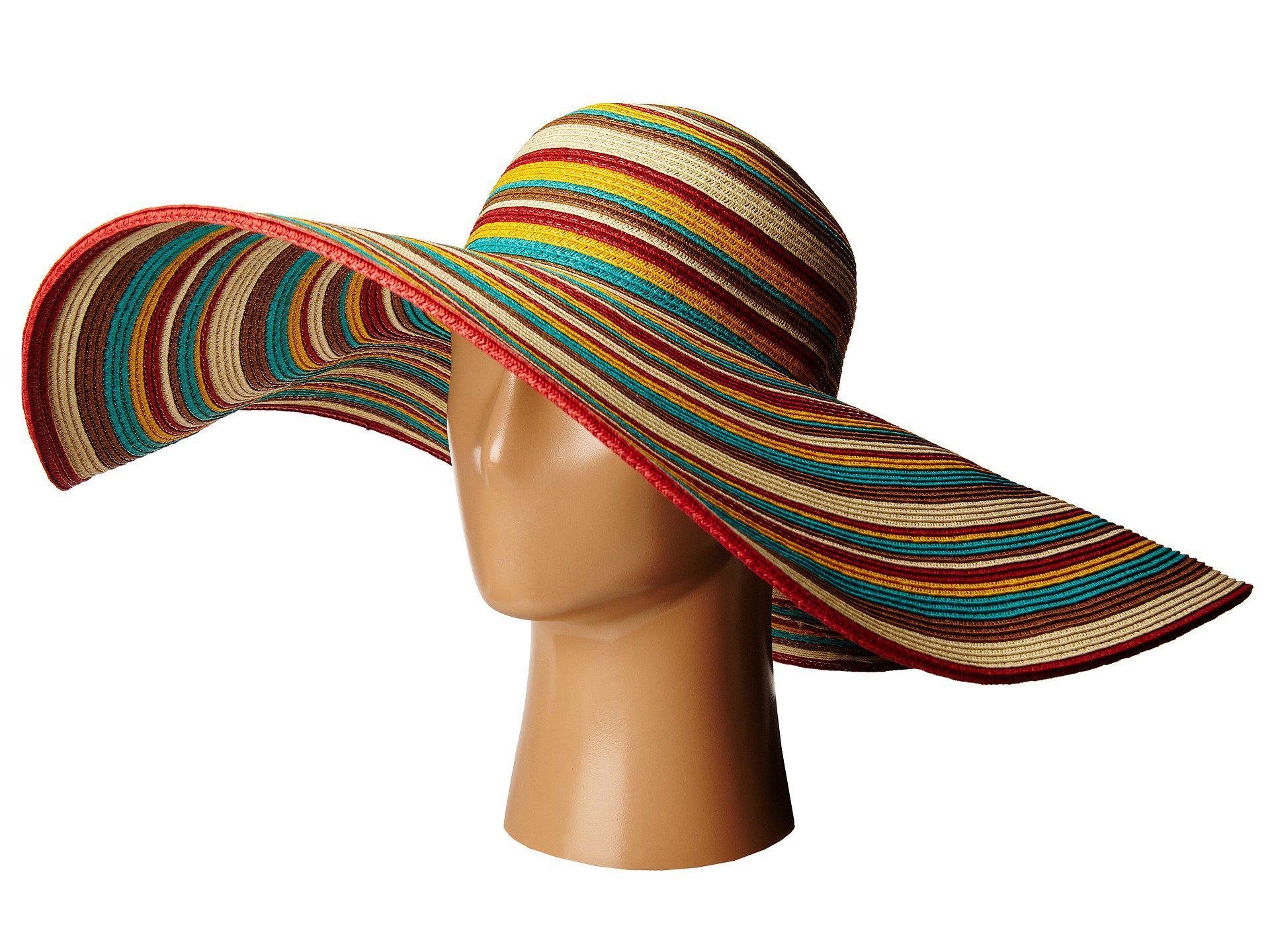 0bcb9df5eeb San Diego Hat Company. Women s Brown Ubx2721 Striped Floppy 8 Inch Brim Sun  ...
